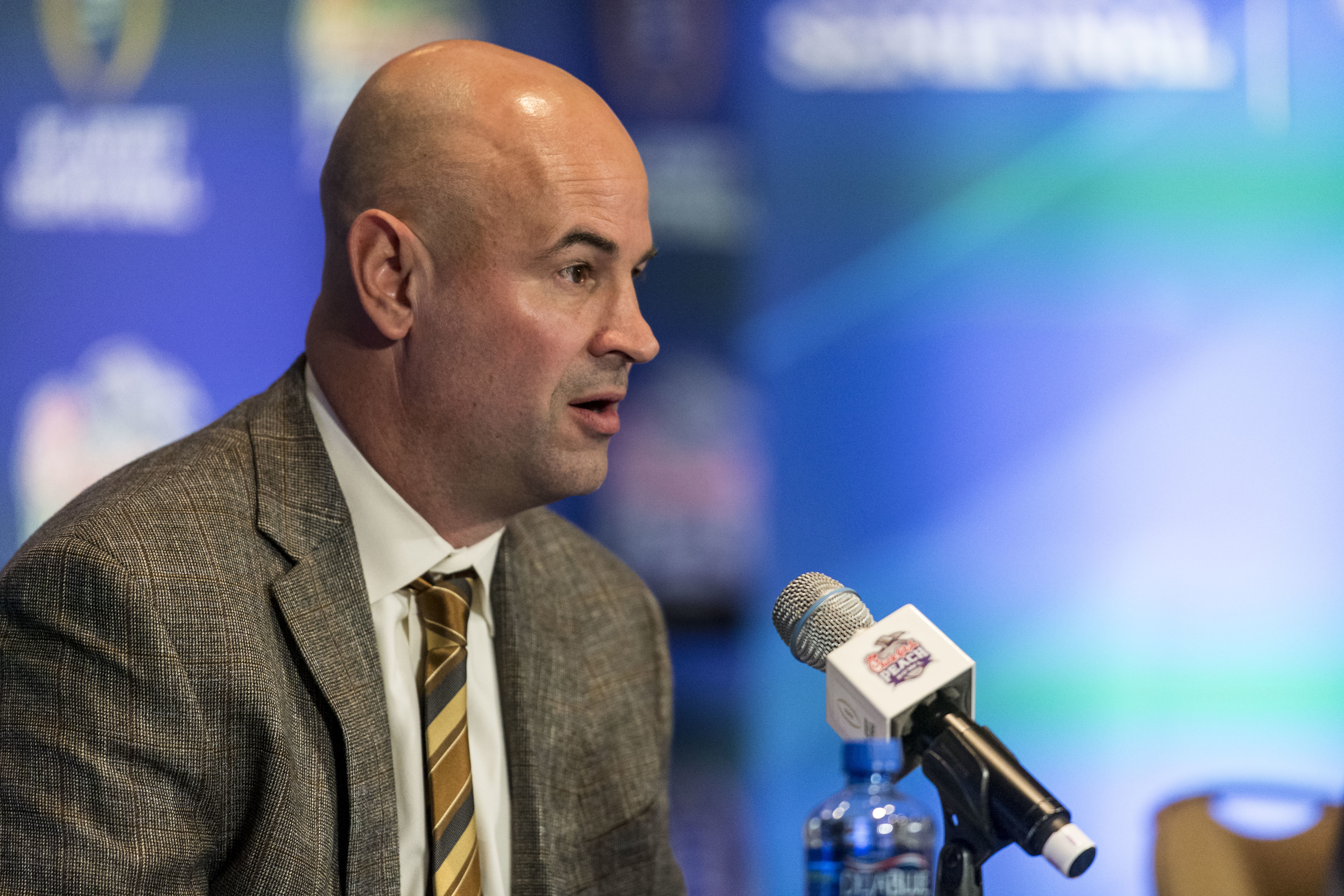Alabama defensive coordinator Jeremy Pruitt talks with the media during the Alabama defensive press conference for the Peach Bowl, Tuesday, Dec. 27, 2016, at Hyatt Regency Atlanta in Atlanta, Ga. (AP Photo/Alabama Media Group, Vasha Hunt)