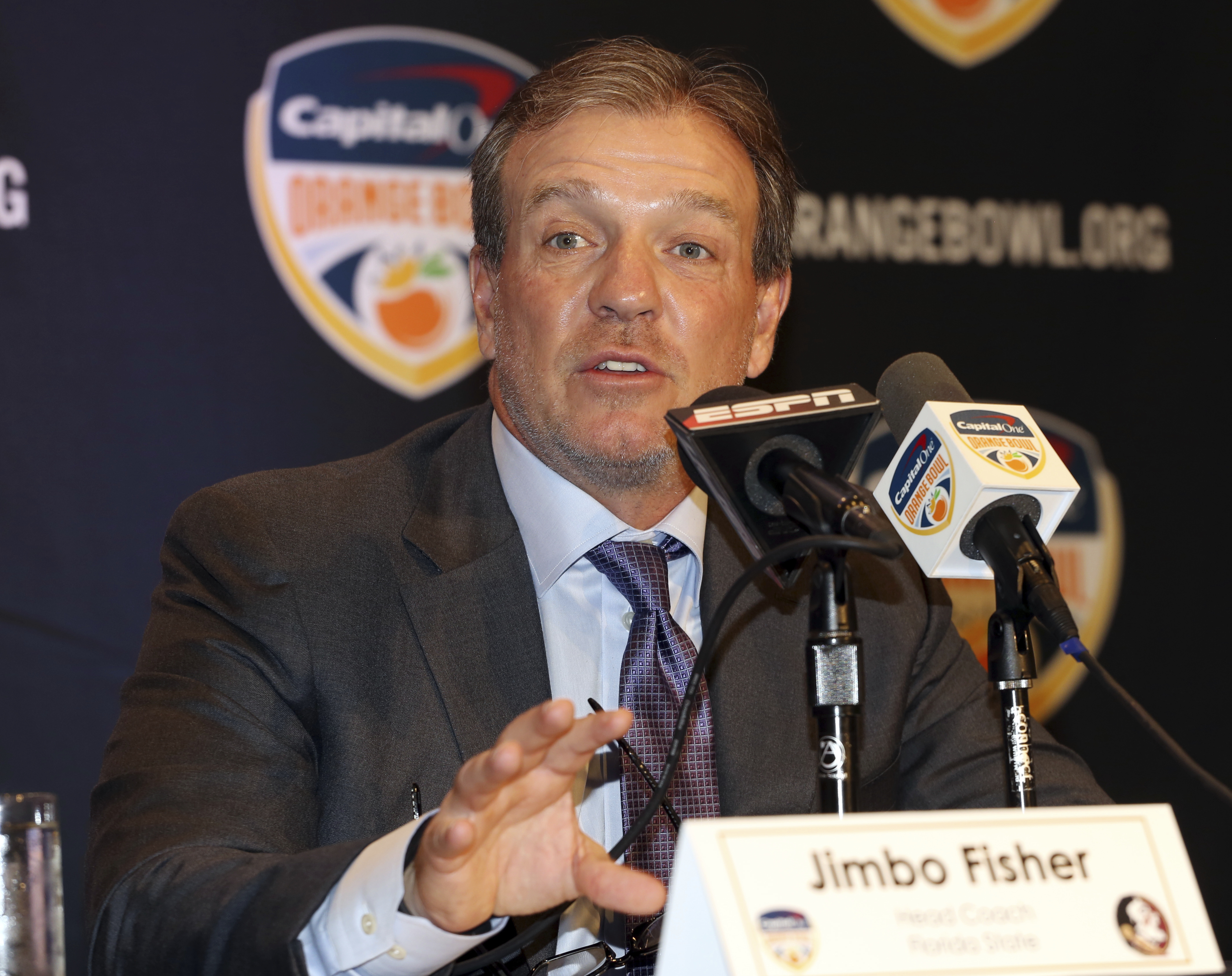 Florida State head coach Jimbo Fisher speaks during a news conference in Fort Lauderdale, Fla., Thursday, Dec. 29, 2016. Florida State plays Michigan in the Orange Bowl Friday. (AP Photo/Marta Lavandier)