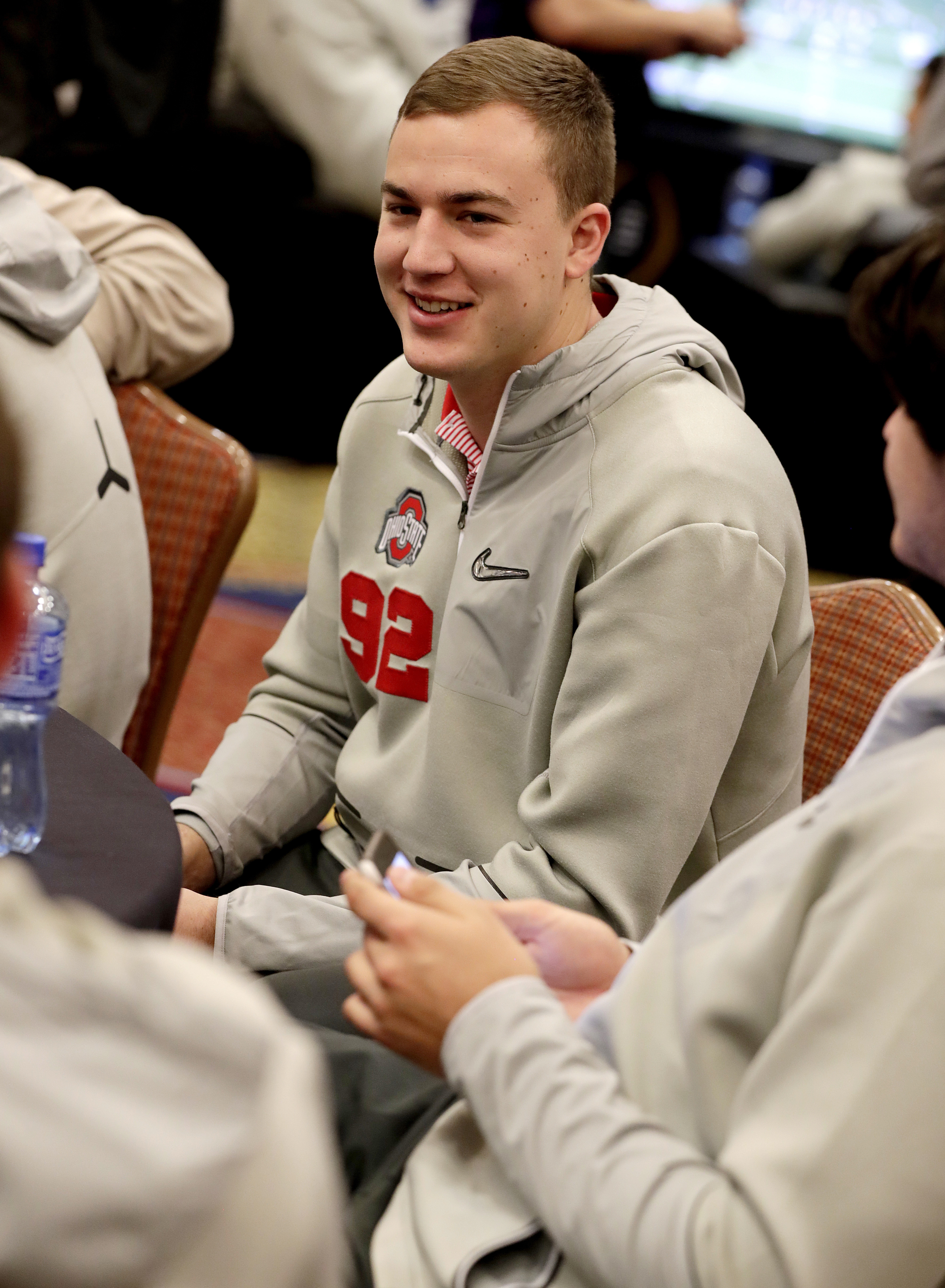 Ohio State's Tyler Durbin smiles during the Fiesta Bowl NCAA college football game media day, Thursday, Dec. 29, 2016, in Scottsdale, Ariz. Ohio State will face Clemson in the Fiesta Bowl on Dec. 31, 2016. (AP Photo/Matt York)
