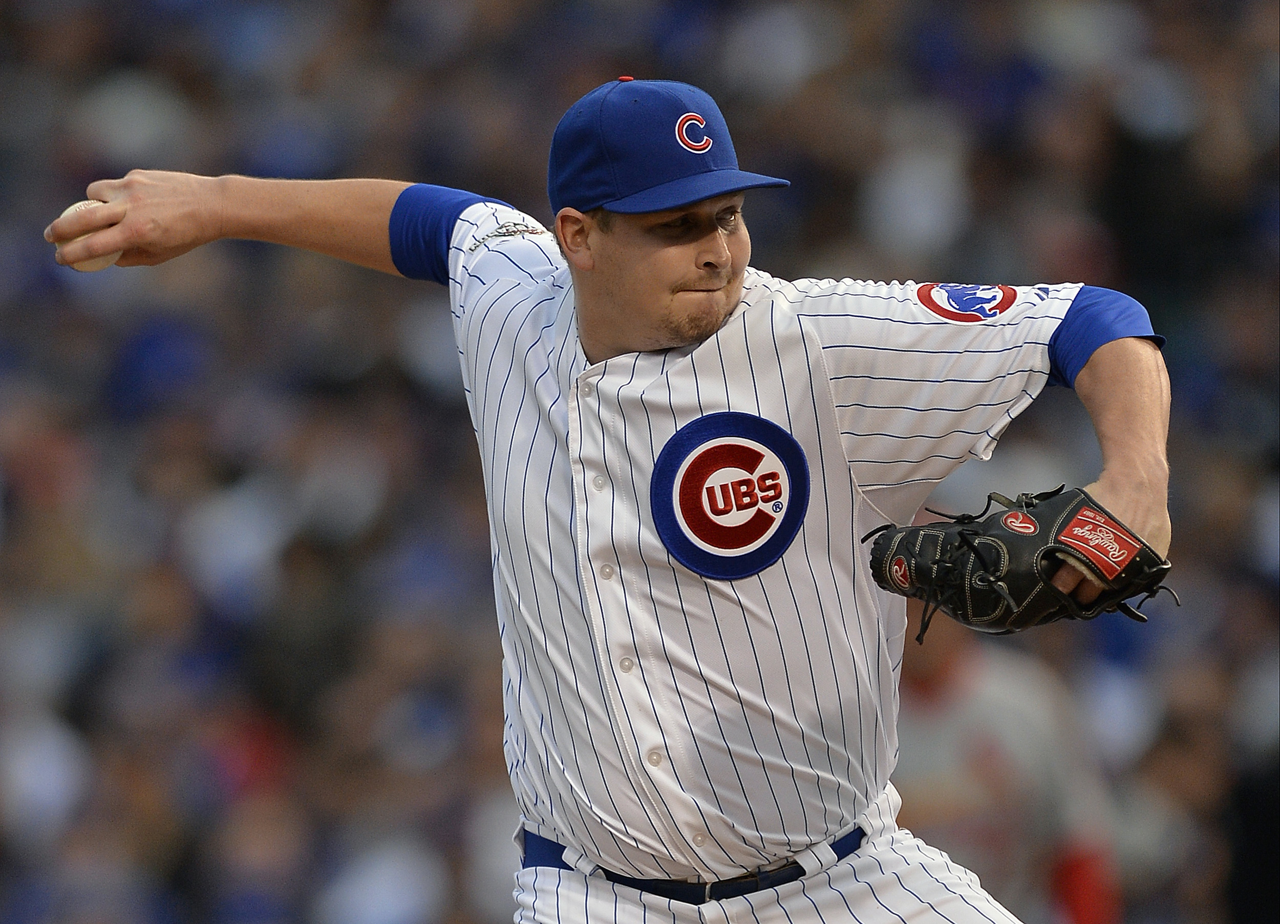 File- This Oct. 13, 2015, file photo shows Chicago Cubs relief pitcher Trevor Cahill throwing during Game 4 in baseball's National League Division Series against the St. Louis Cardinals, in Chicago. Cahill and the Chicago Cubs have finalized a $4.25 milli