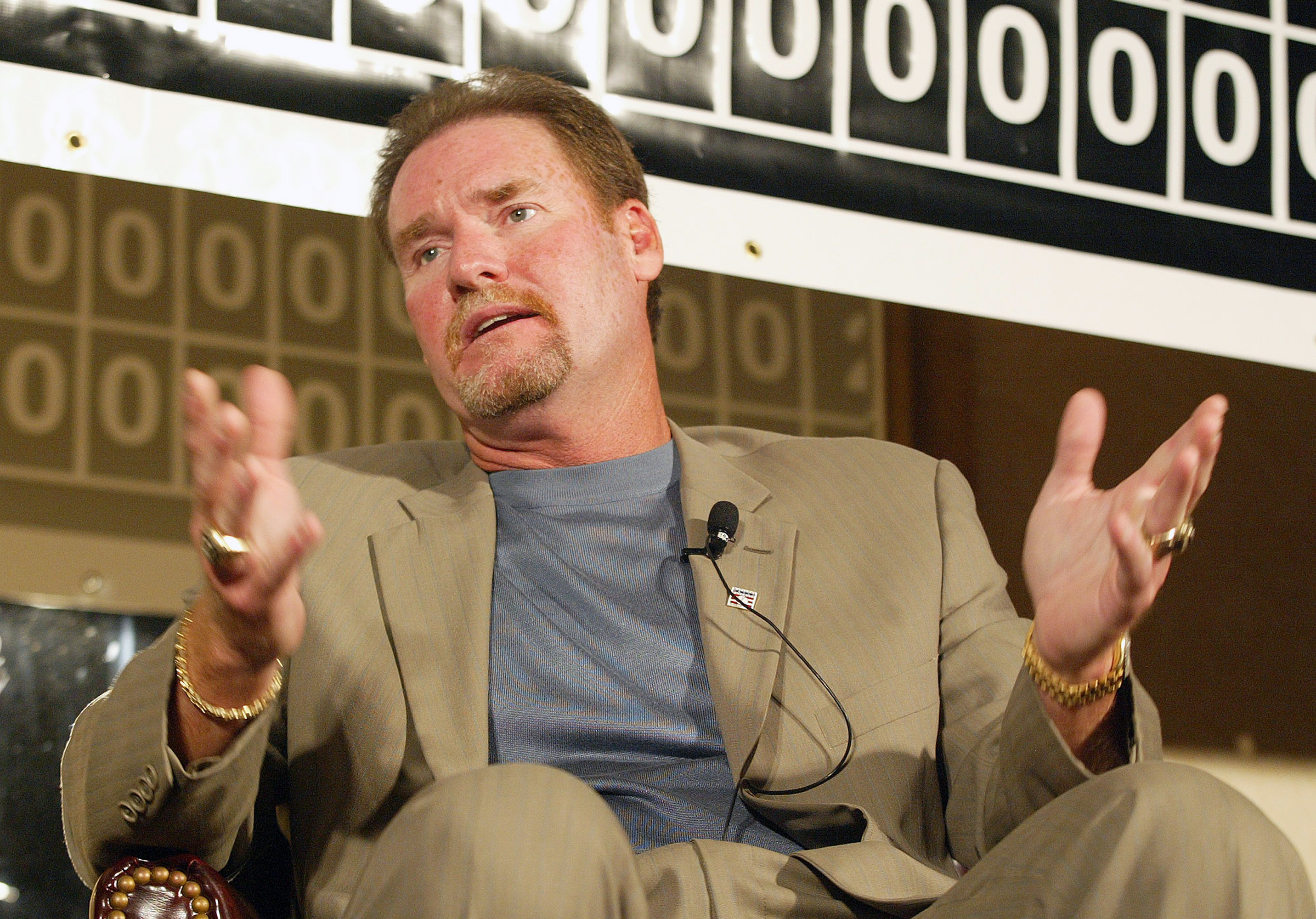 FILE - In this June 23, 2006, file photo, former Boston Red Sox player Wade Boggs talks in Providence, R.I. Boggs' No. 26 will be retired by the Red Sox. Boston said Monday, Dec. 21, 2015, it will retire the number of the Hall of Fame third baseman during