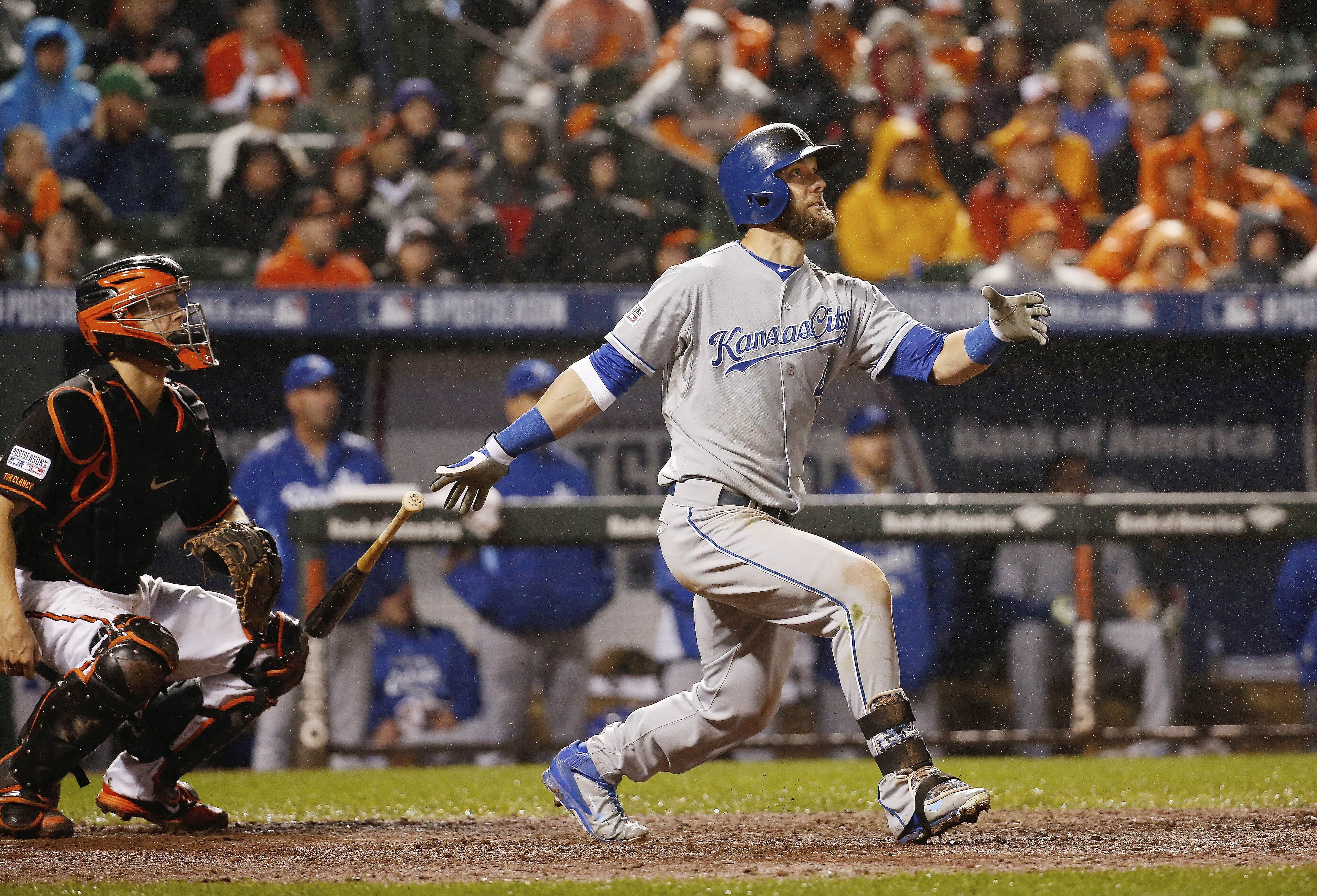 FILE - In this Oct. 11, 2014, file photo, Kansas City Royals' Alex Gordon (4) watches his solo home run during the 10th inning of Game 1 of the American League baseball championship series against the Baltimore Orioles, in Baltimore. A person familiar wit