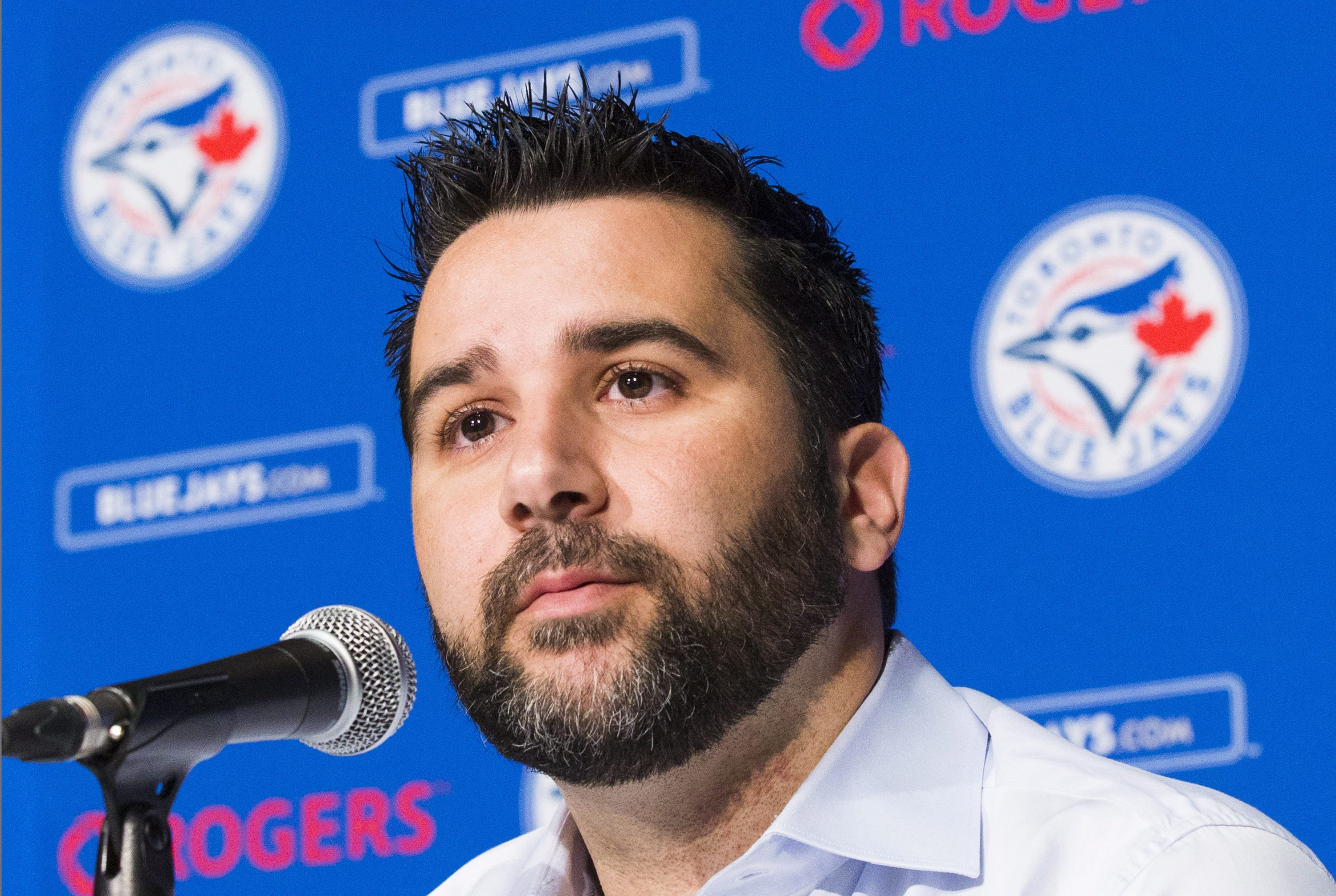 FILE - In this July 28, 2015, file photo, Toronto Blue Jays general manager Alex Anthopoulos speaks at a press conference in Toronto. The Los Angeles Dodgers on Tuesday, Jan. 12,  announced the hiring of Anthopoulos as Vice President, Baseball Operations.