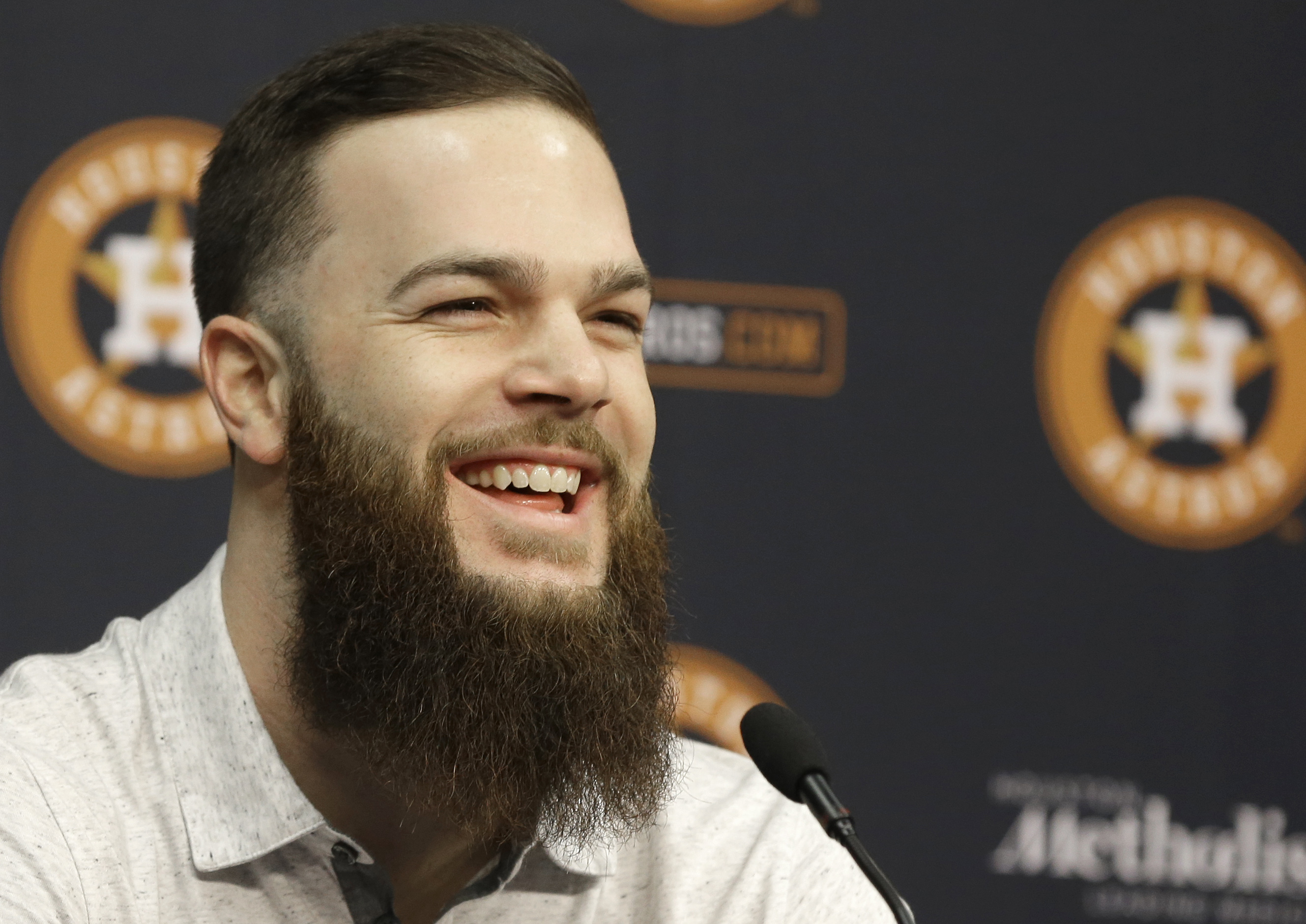 FILE- In this Nov. 19, 2015, file photo, Houston Astros pitcher Dallas Keuchel speaks at a press conference in Houston. Cy Young Award winners Jake Arrieta of the Chicago Cubs and Keuchel were among 156 players who filed for salary arbitration Tuesday, Ja