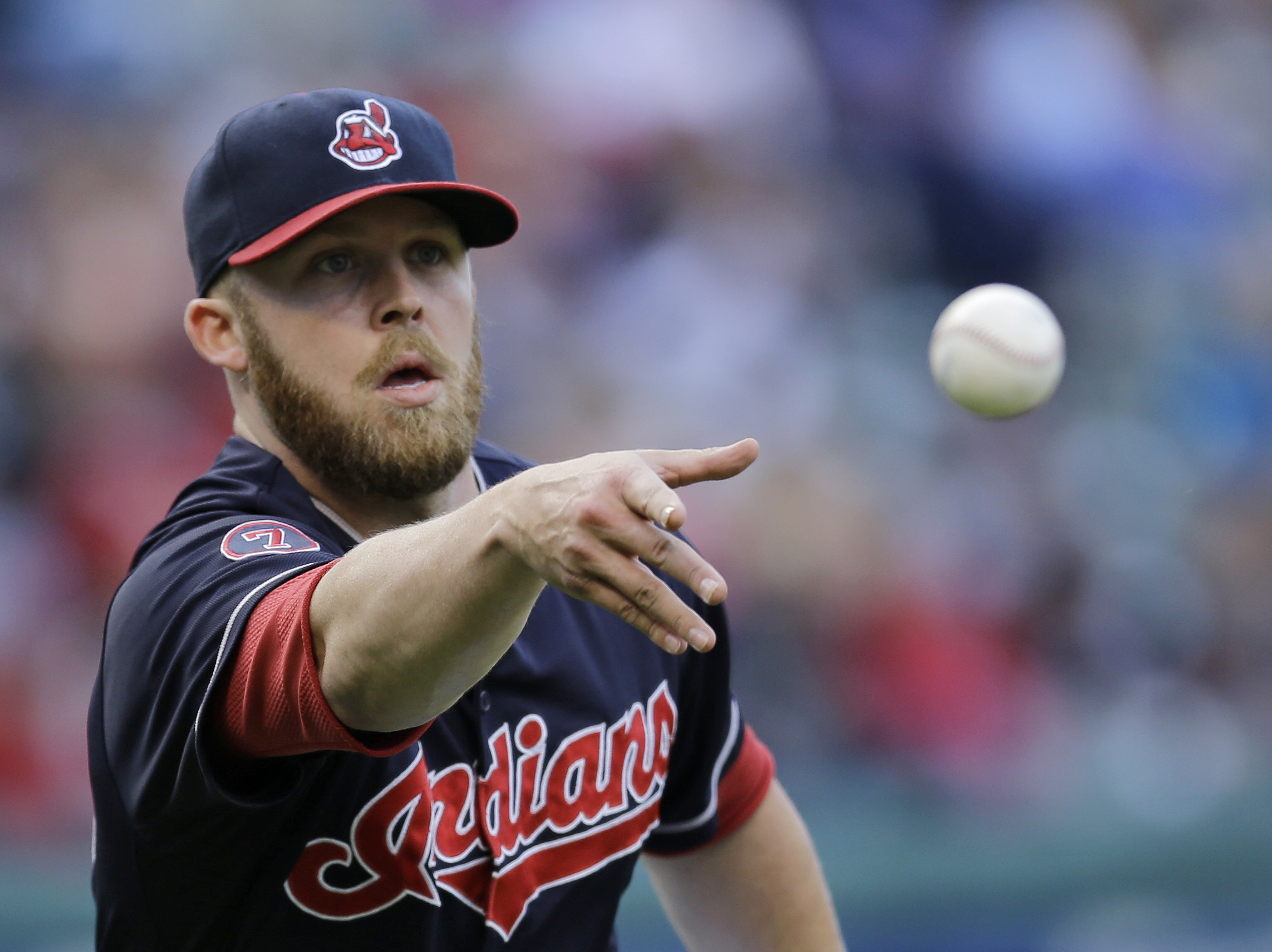 Cleveland Indians relief pitcher Cody Allen tosses the ball to first base to get Detroit Tigers' James McCann out in the ninth inning of the first game of a baseball doubleheader, Sunday, Sept. 13, 2015, in Cleveland. The Indians won 7-2. (AP Photo/Tony D