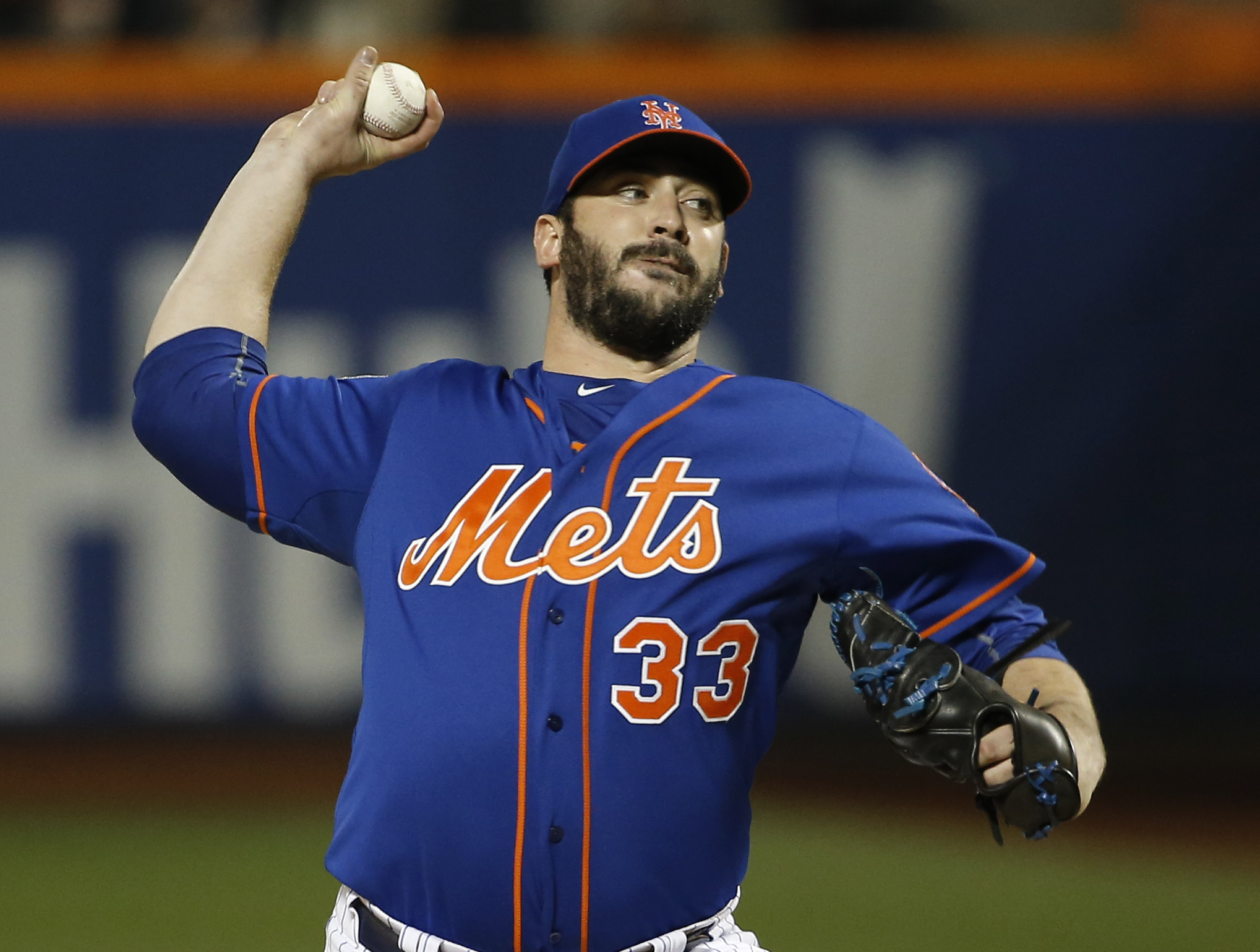 New York Mets pitcher Matt Harvey pitches during the first inning of Game 5 of the Major League Baseball World Series against the Kansas City Royals Sunday, Nov. 1, 2015, in New York. (AP Photo/Matt Slocum)