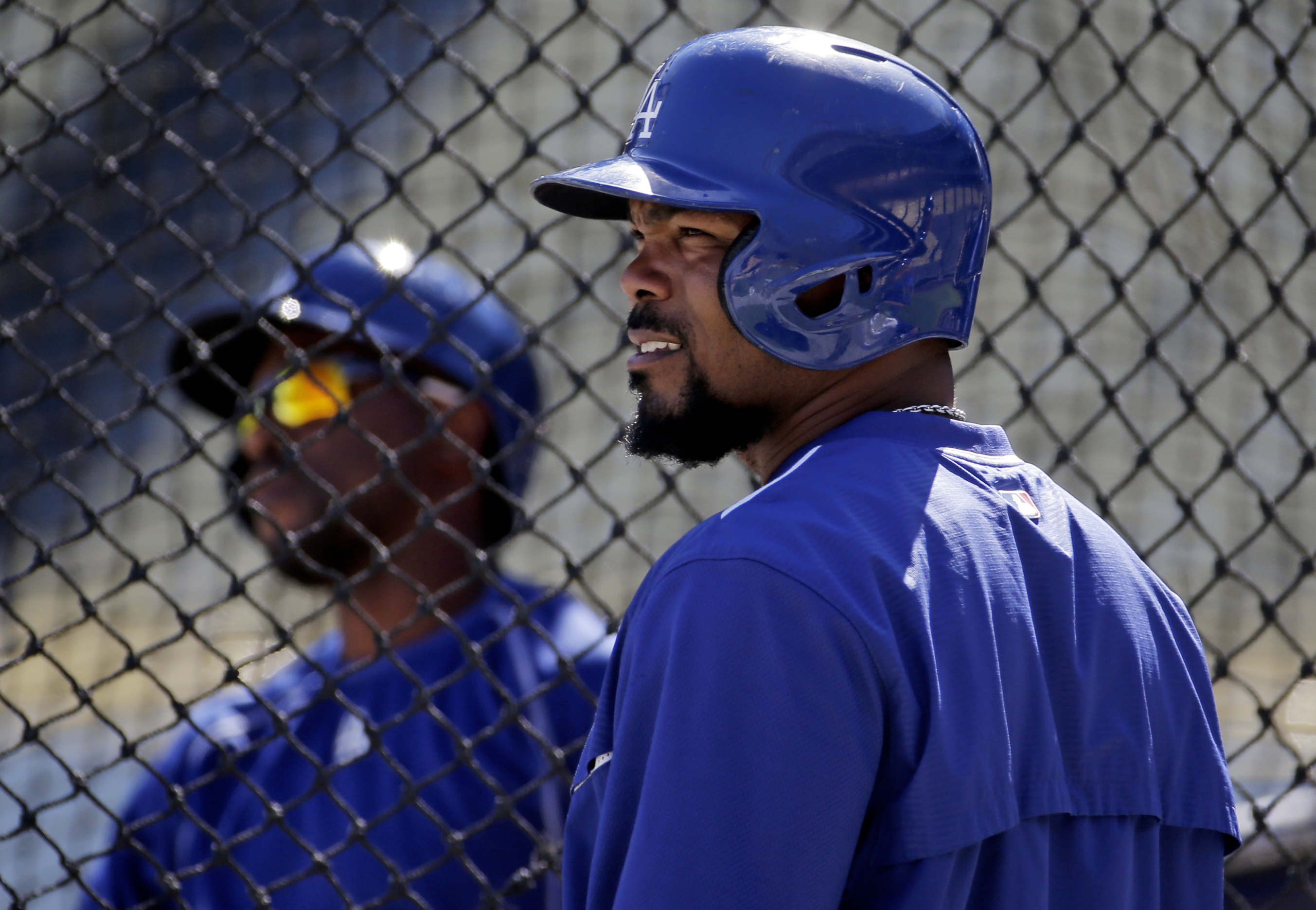 Los Angeles Dodgers second baseman Howie Kendrick watches during batting practice for during workouts in preparation for the National League Division Series that is set to begin on Friday, Thursday, Oct. 8, 2015 in Los Angeles. (AP Photo/Chris Carlson)