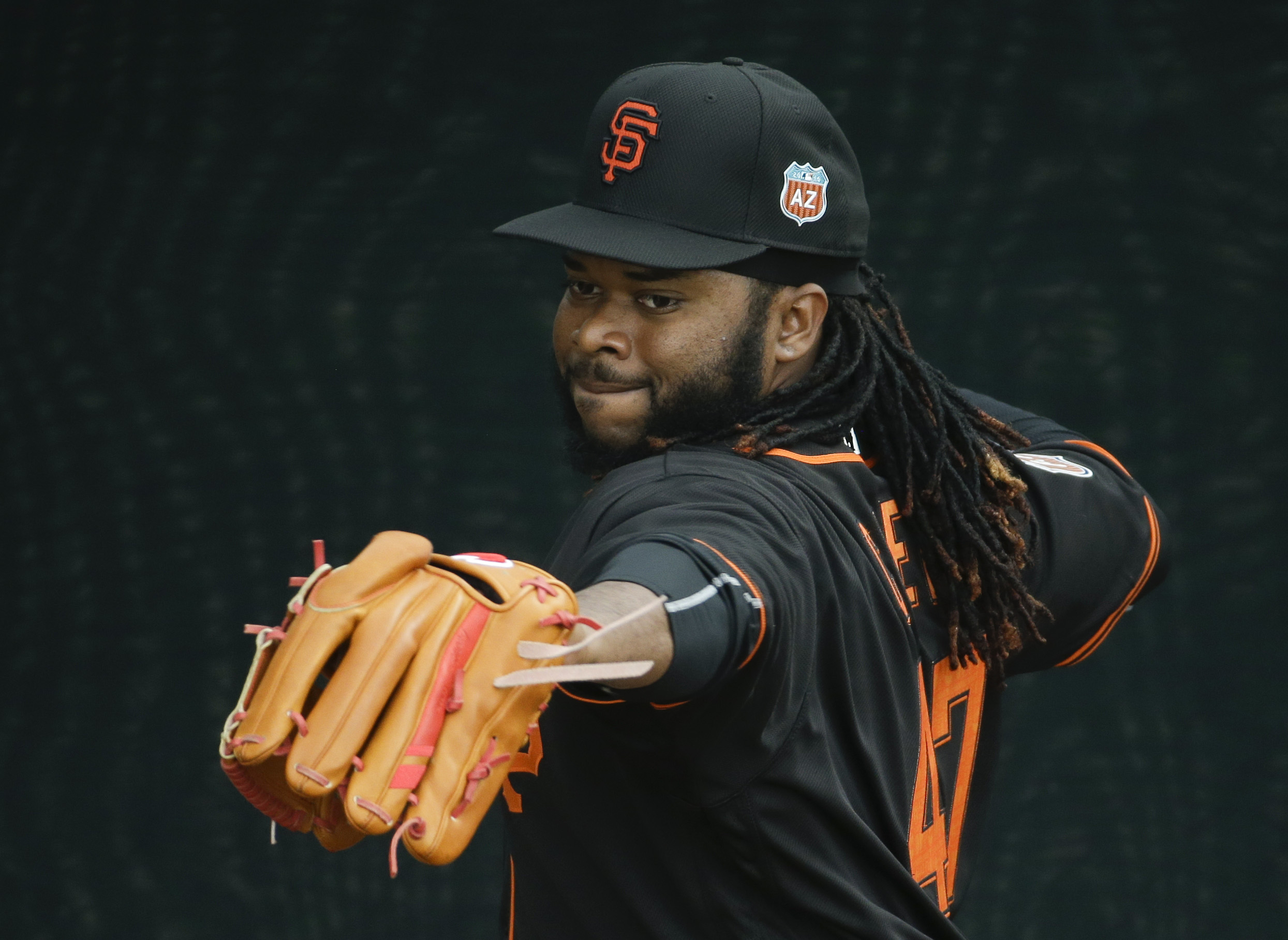 San Francisco Giants pitcher Johnny Cueto warms up during practice for the spring baseball season in Scottsdale, Ariz., Thursday, Feb. 18, 2016. (AP Photo/Chris Carlson)