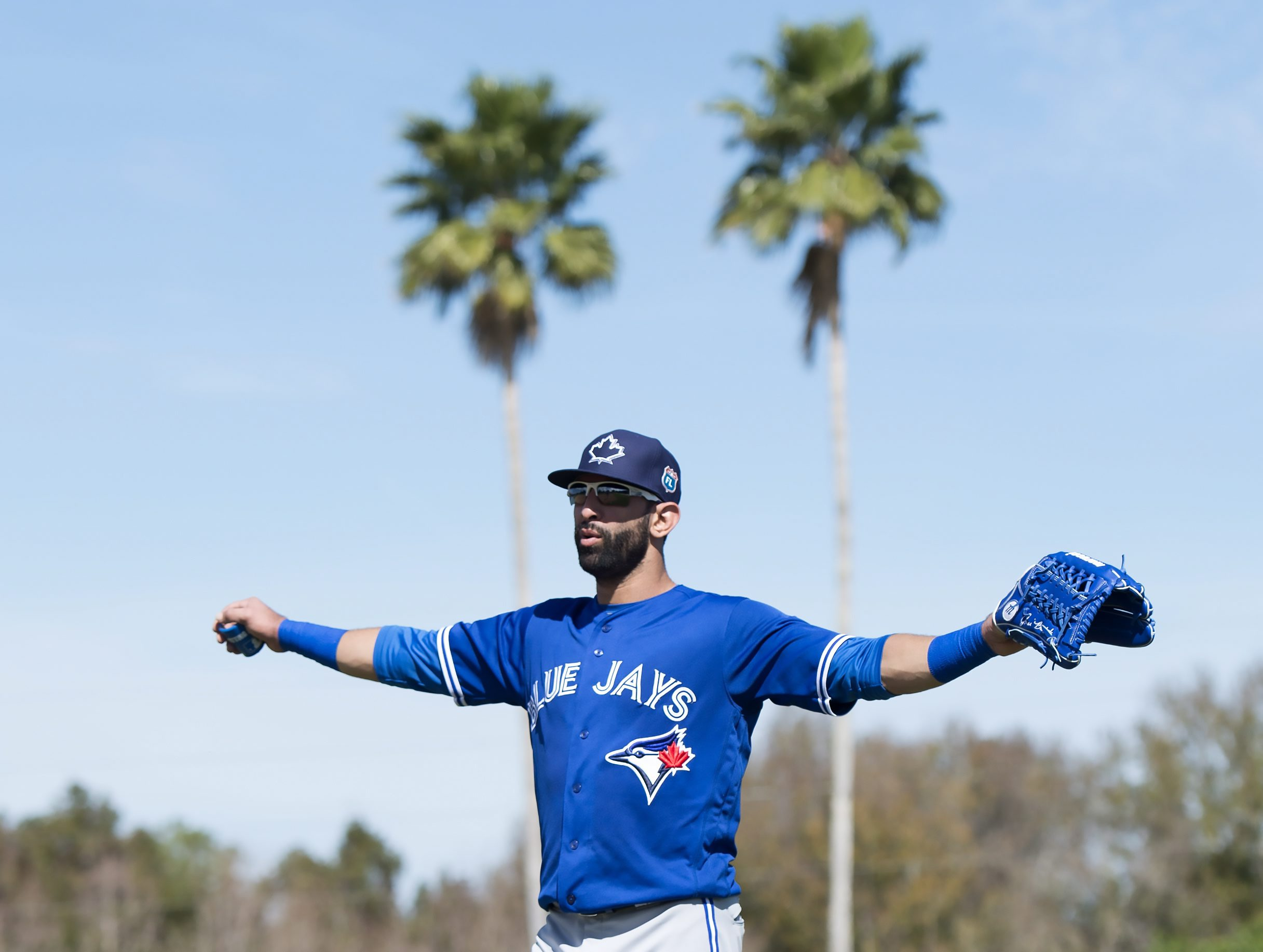 Toronto Blue Jays outfielder Jose Bautista stretches his arms as he walks up the field in the first official spring training baseball workout in Dunedin, Fla., Monday Feb. 22, 2016. (Frank Gunn/The Canadian Press via AP) MANDATORY CREDIT