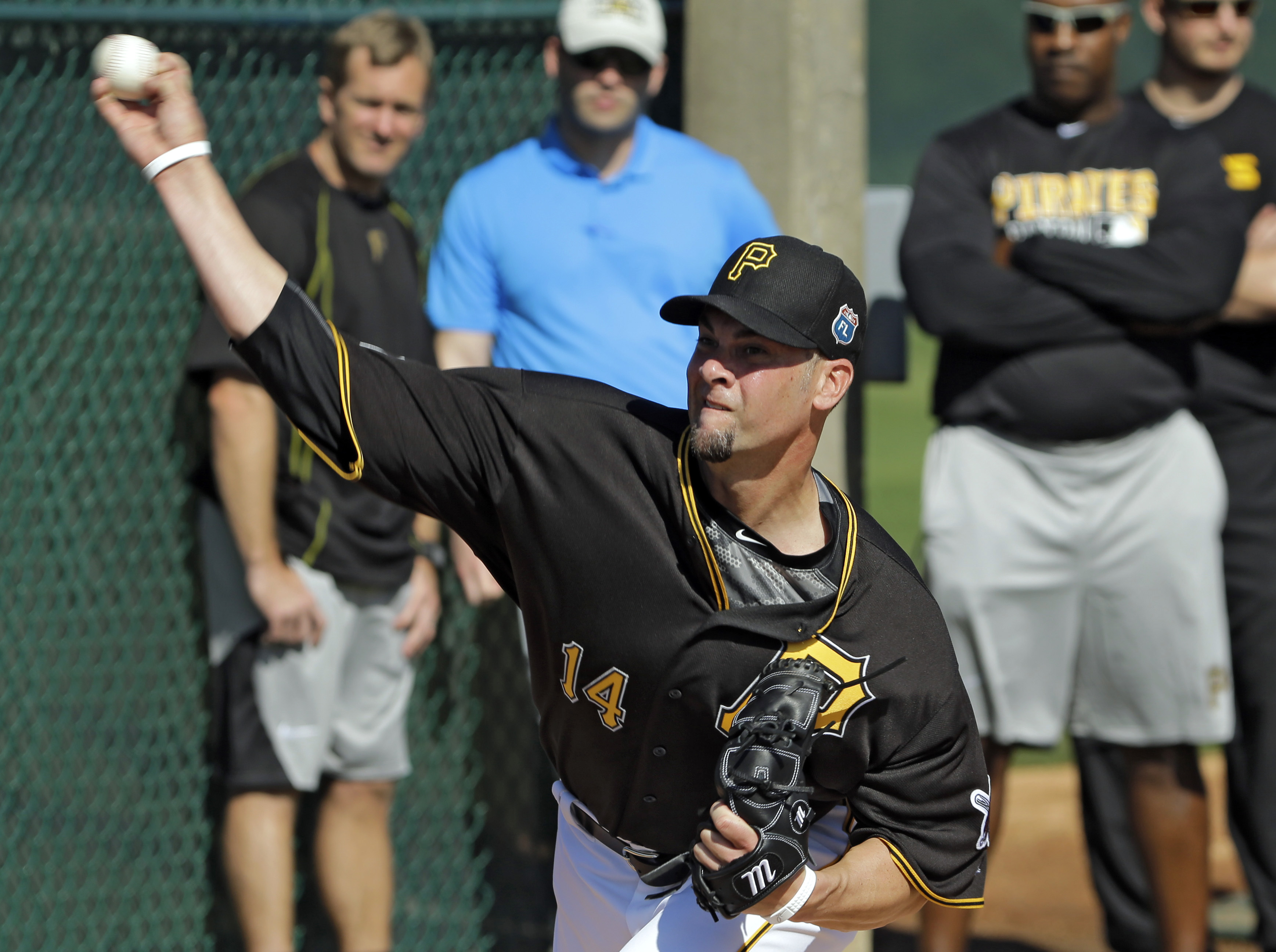 FILE - In this Feb. 20, 2016, file photo, Pittsburgh Pirates pitcher Ryan Vogelsong throws in the bullpen during a spring training baseball workout, in Bradenton, Fla. Vogelsong hopes his second act with the Pirates goes better than his first. (AP Photo/C