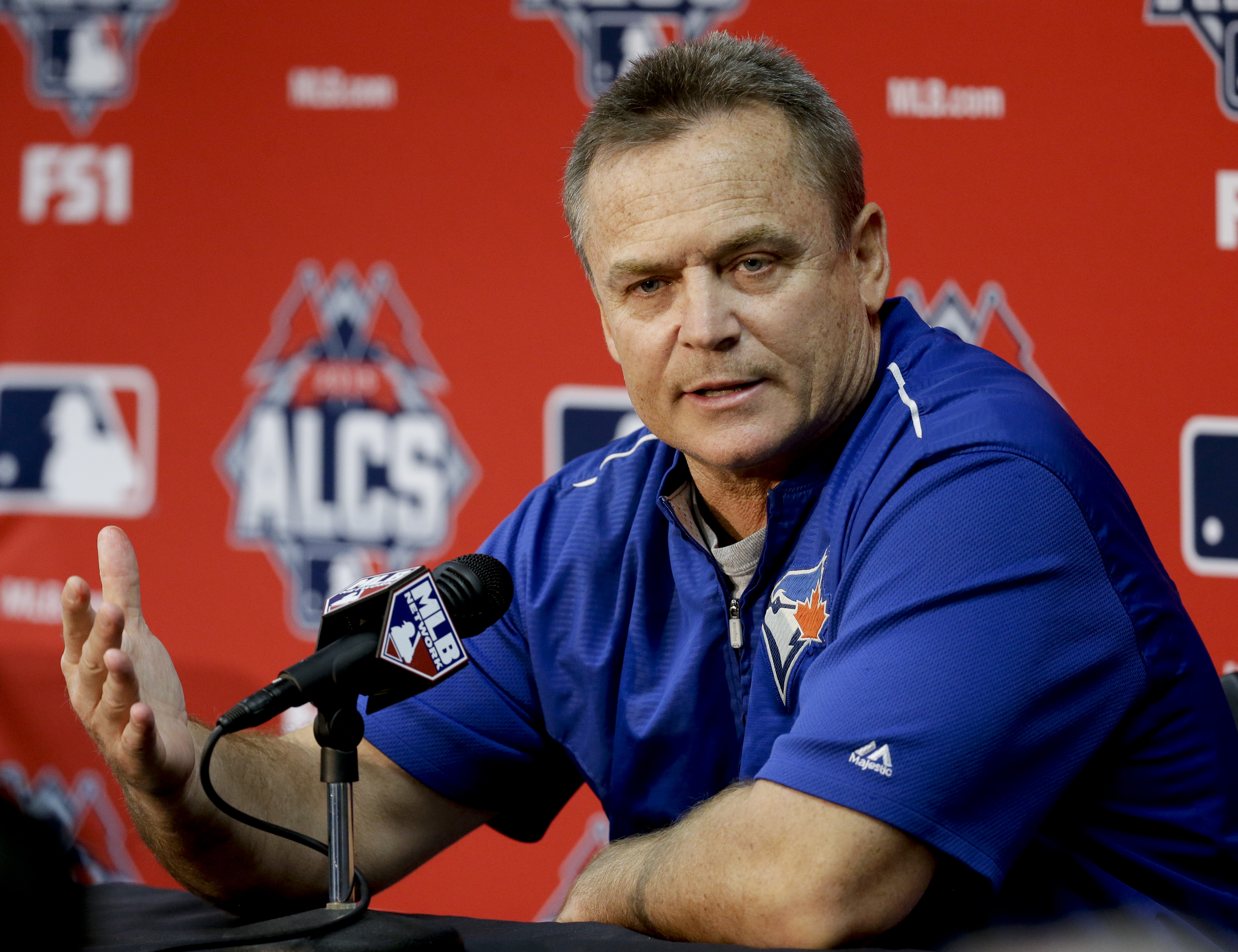FILE - In this Oct. 23, 2015, file photo, Toronto Blue Jays manager John Gibbons talks during a news conference before Game 6 of baseball's American League Championship Series, in Kansas City, Mo. The Toronto Blue Jays finally made it back to the postseas
