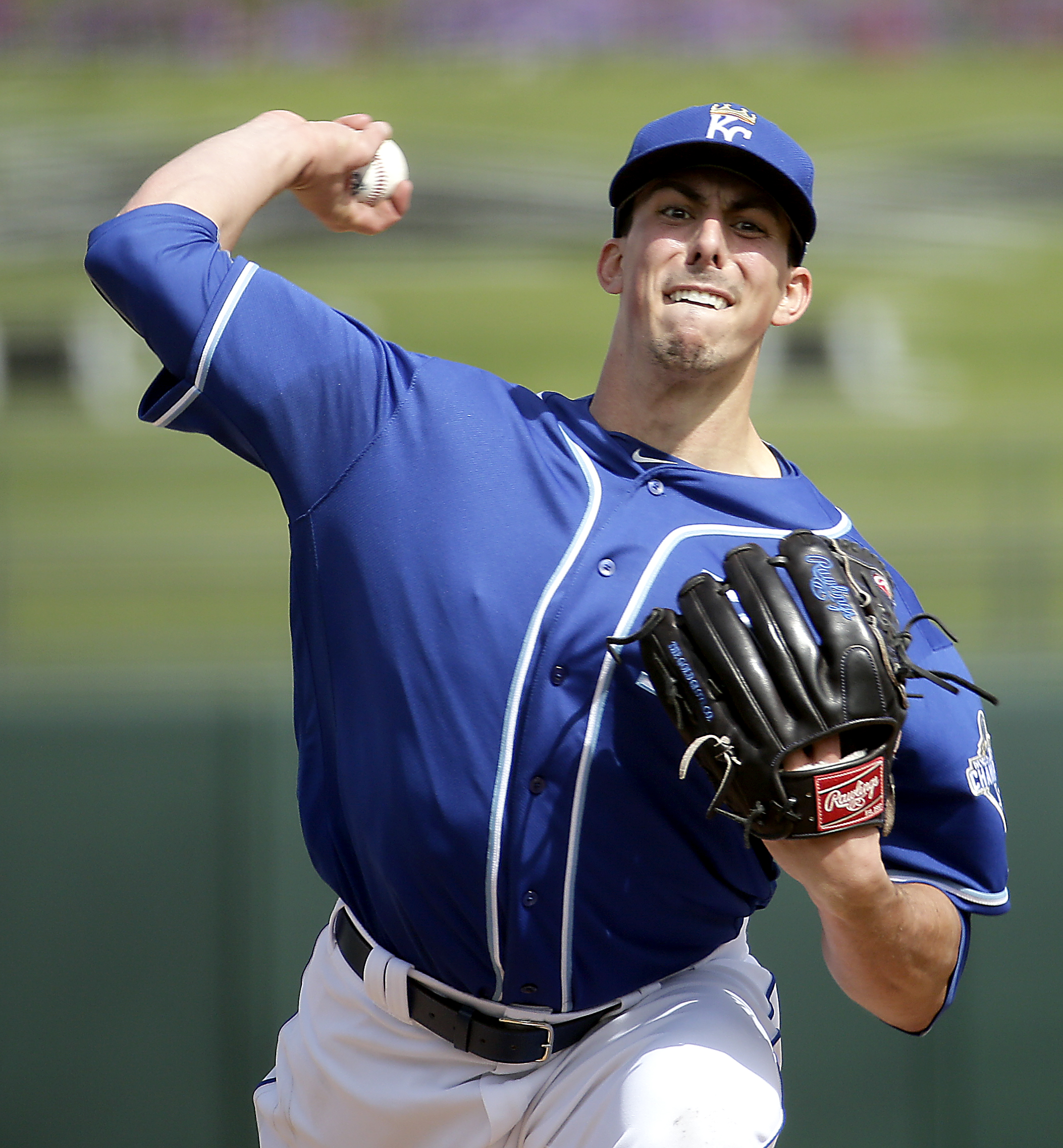 FILE - In this March 2, 2016, file photo, Kansas City Royals starting pitcher Kyle Zimmer throws during the first inning of a spring training baseball game against the Texas Rangers, in Surprise, Ariz.  While he has little shot of making the opening day r