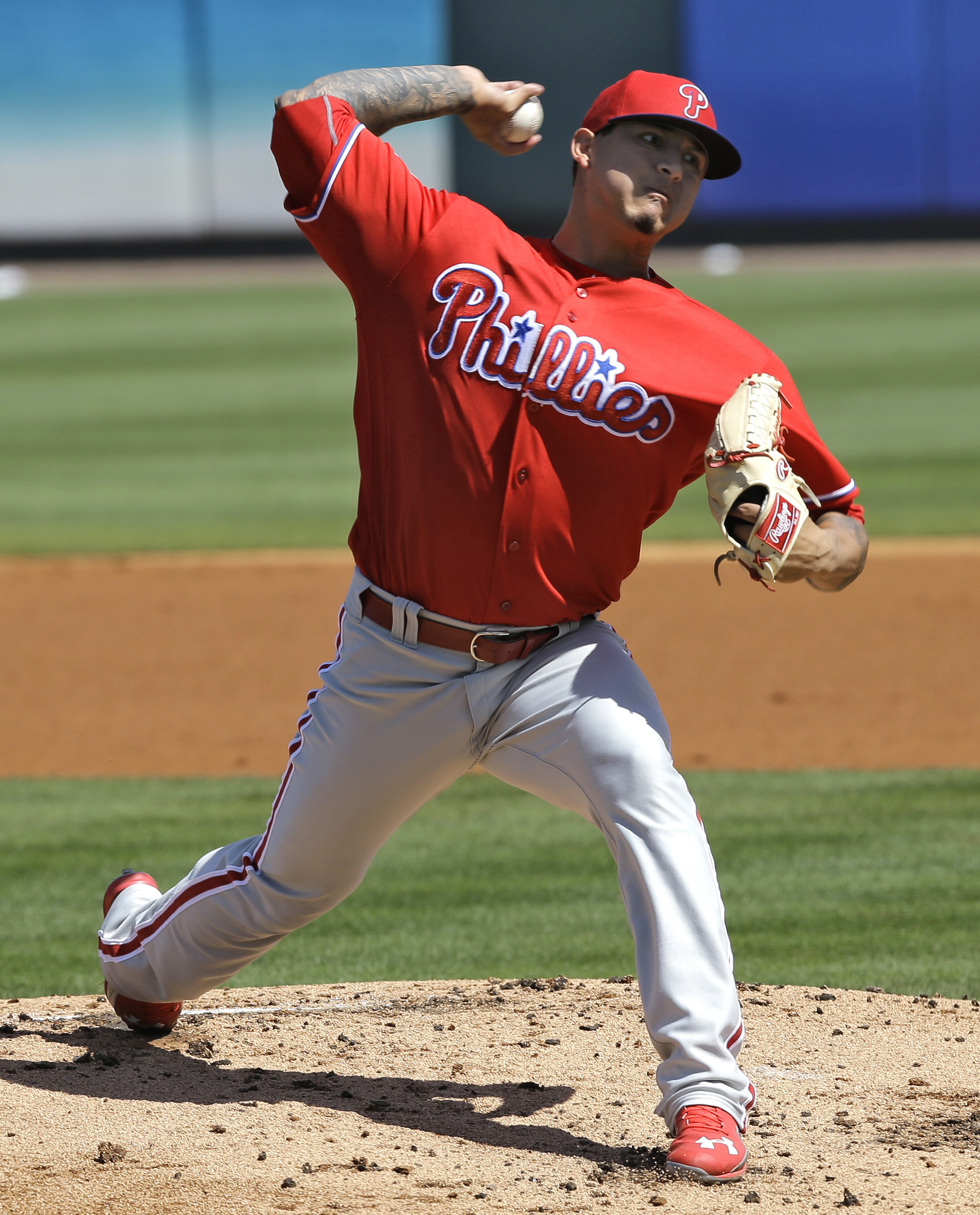 Philadelphia Phillies pitcher Vincent Velasquez delivers to the Pittsburgh Pirates during the first inning of a spring training baseball game Monday, March 7, 2016, in Tampa, Fla. (AP Photo/Chris O'Meara)