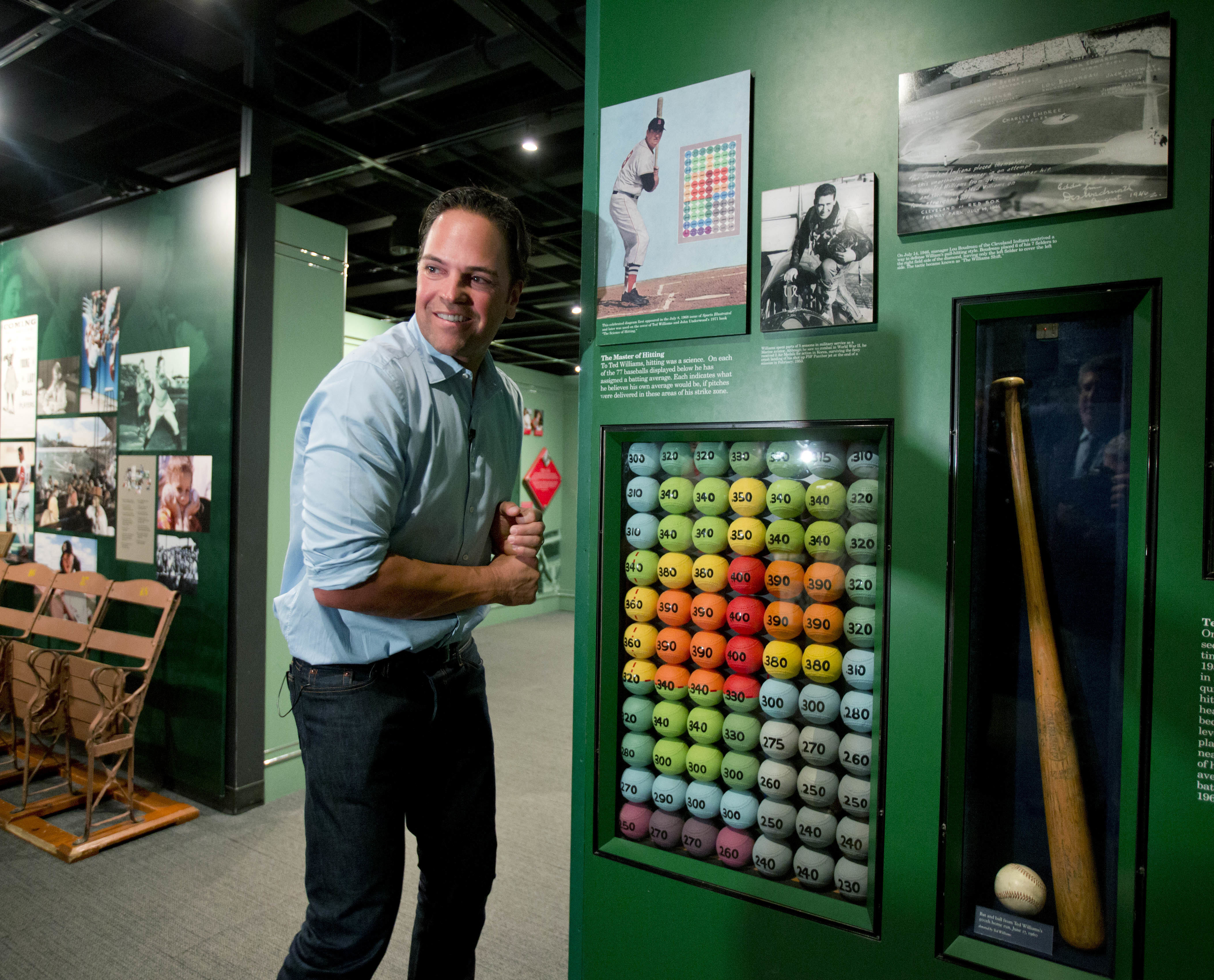Baseball Hall of Fame electee Mike Piazza visits a Ted Williams exhibit during his orientation tour at the hall on Tuesday, March 8, 2016, in Cooperstown, N.Y. He will be inducted in July. (AP Photo/Mike Groll)