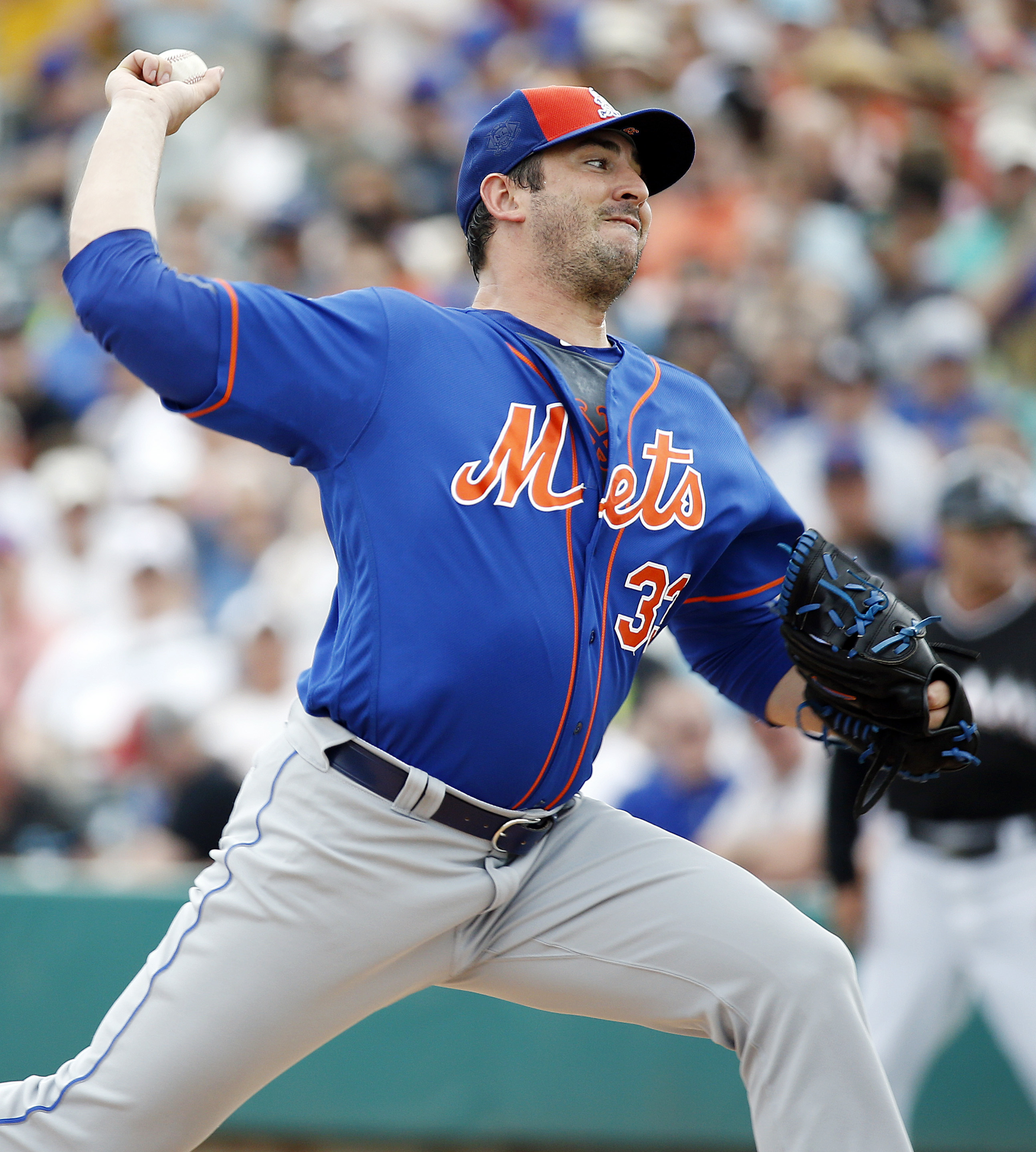 New York Mets' starting pitcher Matt Harvey delivers the ball during the first inning of an exhibition spring training baseball game against the Miami Marlins, Sunday, March 13, 2016, in Jupiter, Fla. (AP Photo/Brynn Anderson)
