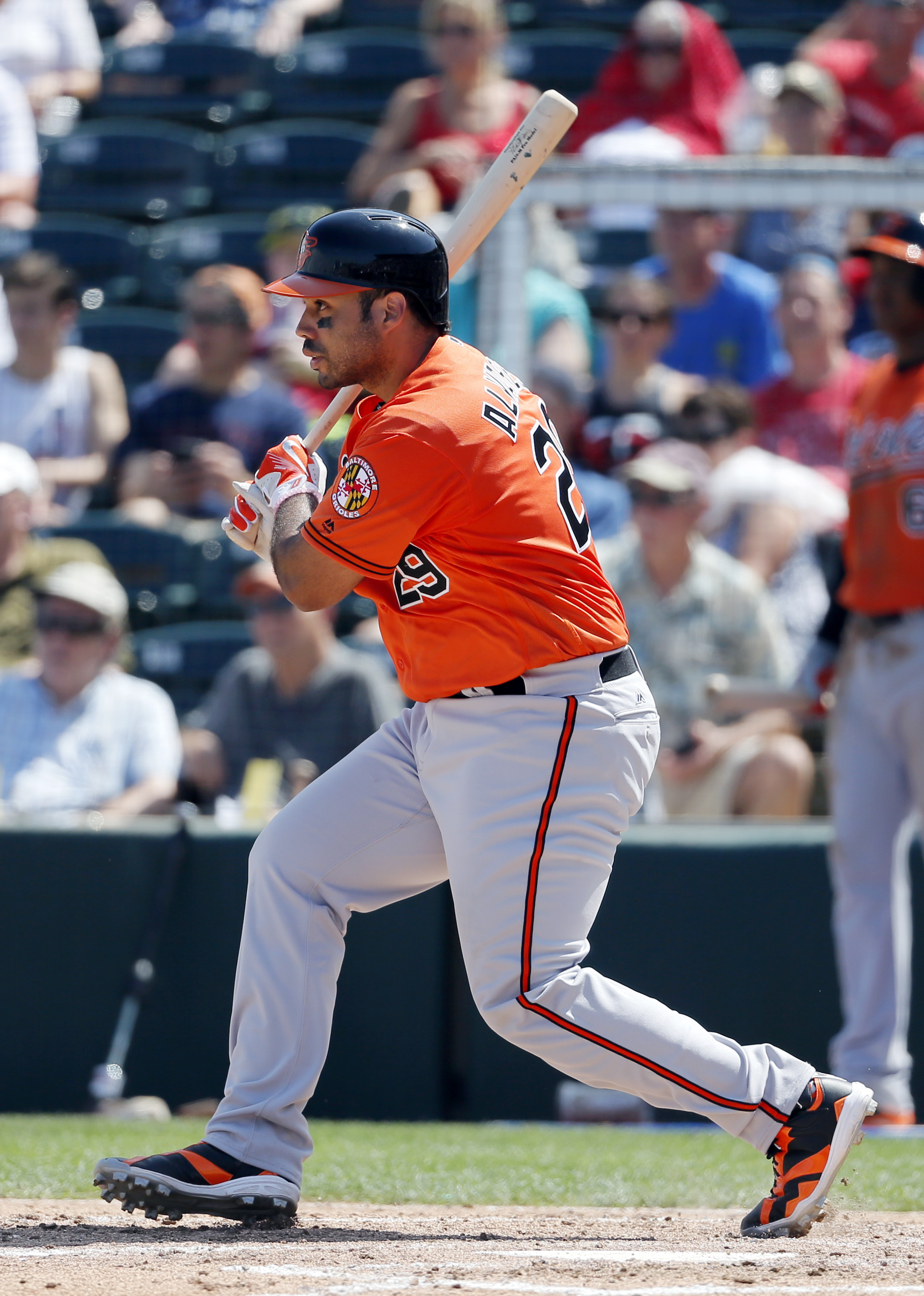 Baltimore Orioles' Pedro Alvarez (29) follows through on a fielder's choice in the third inning of a spring training baseball game against the Minnesota Twins on Sunday, March 13, 2016, in Fort Myers , Fla.  (AP Photo/Tony Gutierrez)