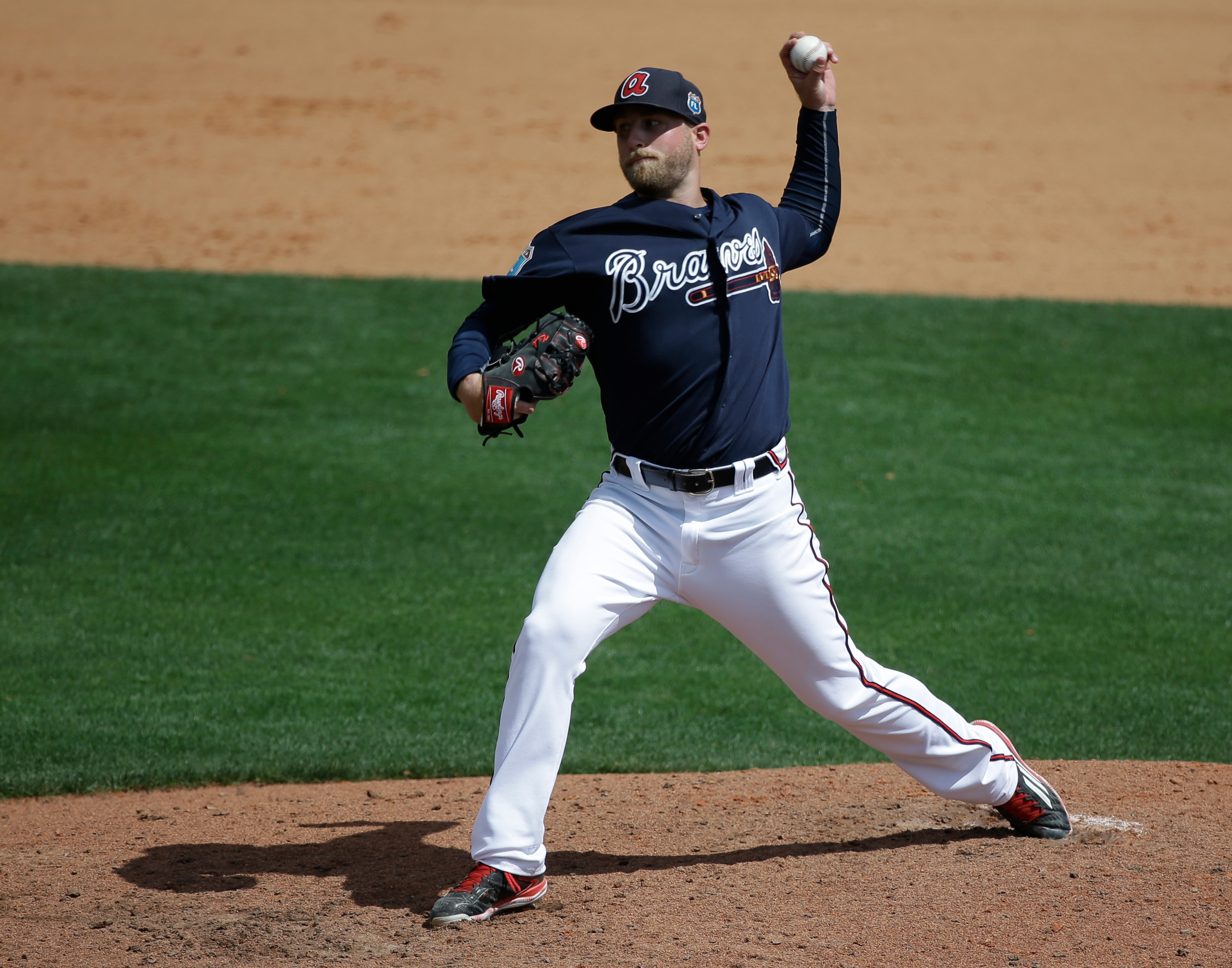 Atlanta Braves' Ian Krol pitches against the St. Louis Cardinals in the sixth inning of a spring training baseball game, Wednesday, March 16, 2016, in Kissimmee, Fla. (AP Photo/John Raoux)