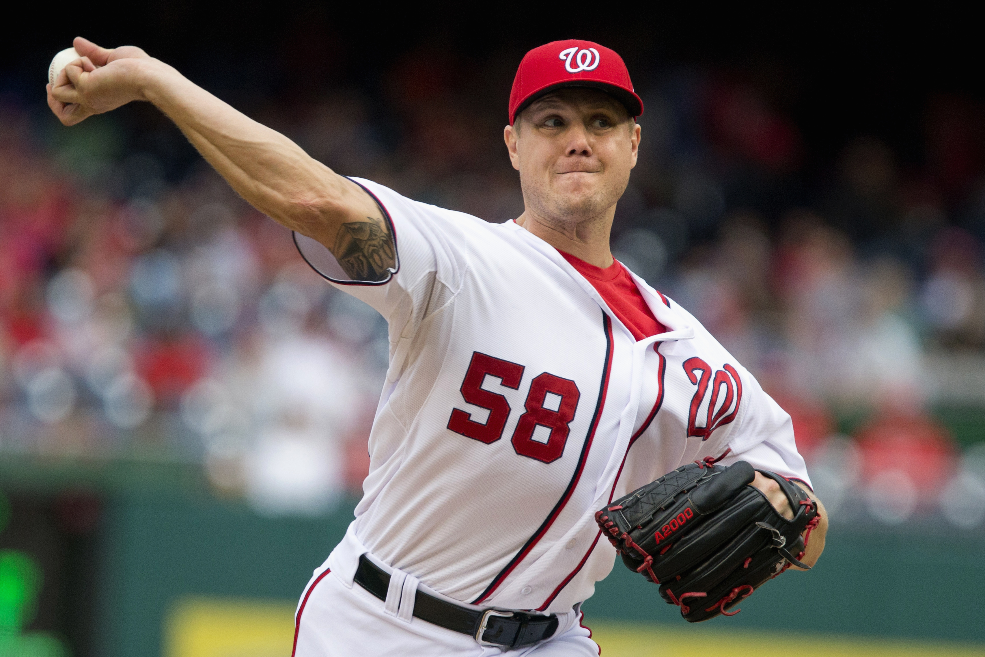 FILE - In this Sept. 27, 2015 file photo, Washington Nationals relief pitcher Jonathan Papelbon pitches against the Philadelphia Phillies at Nationals Park in Washington. The Nationals hope to become a good team again, but Papelbon being back with the Nat