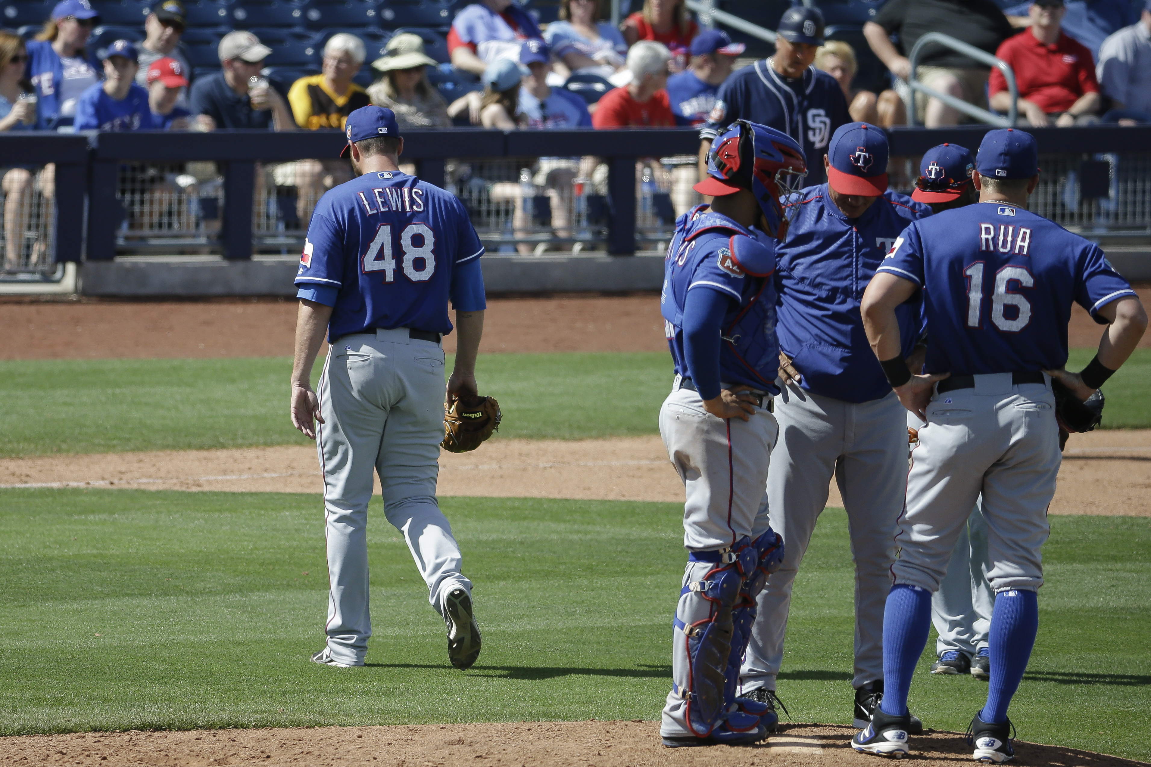 Texas Rangers starting pitcher Colby Lewis (48) is relieved in the fifth inning of a spring training baseball game against the San Diego Padres, Tuesday, March 22, 2016, in Peoria, Ariz. (AP Photo/Darron Cummings)