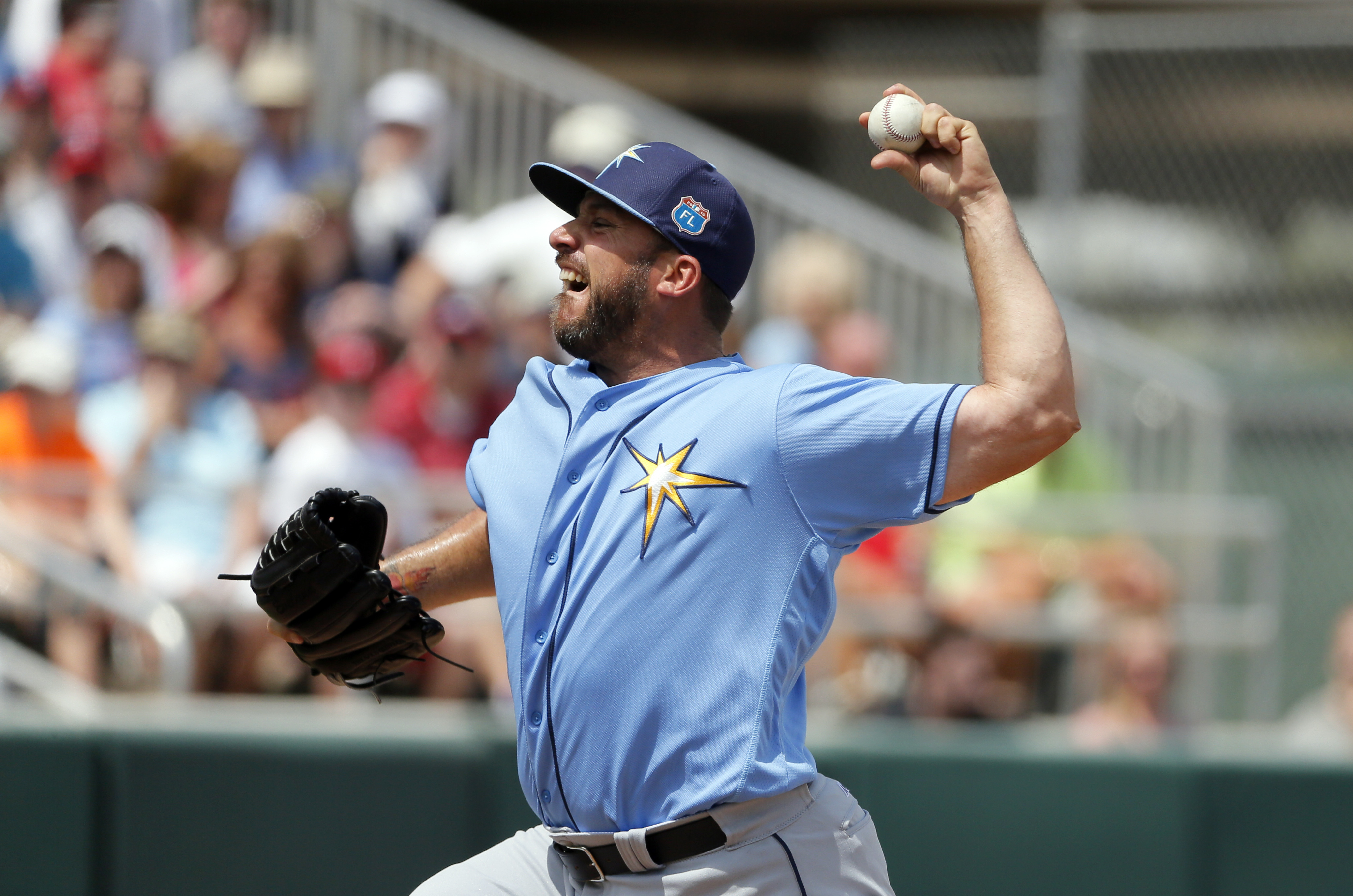 Tampa Bay Rays relief pitcher Dana Eveland works against the Minnesota Twins in the first inning of a spring training baseball game, Wednesday, March 23, 2016, in Fort Myers, Fla. (AP Photo/Tony Gutierrez)
