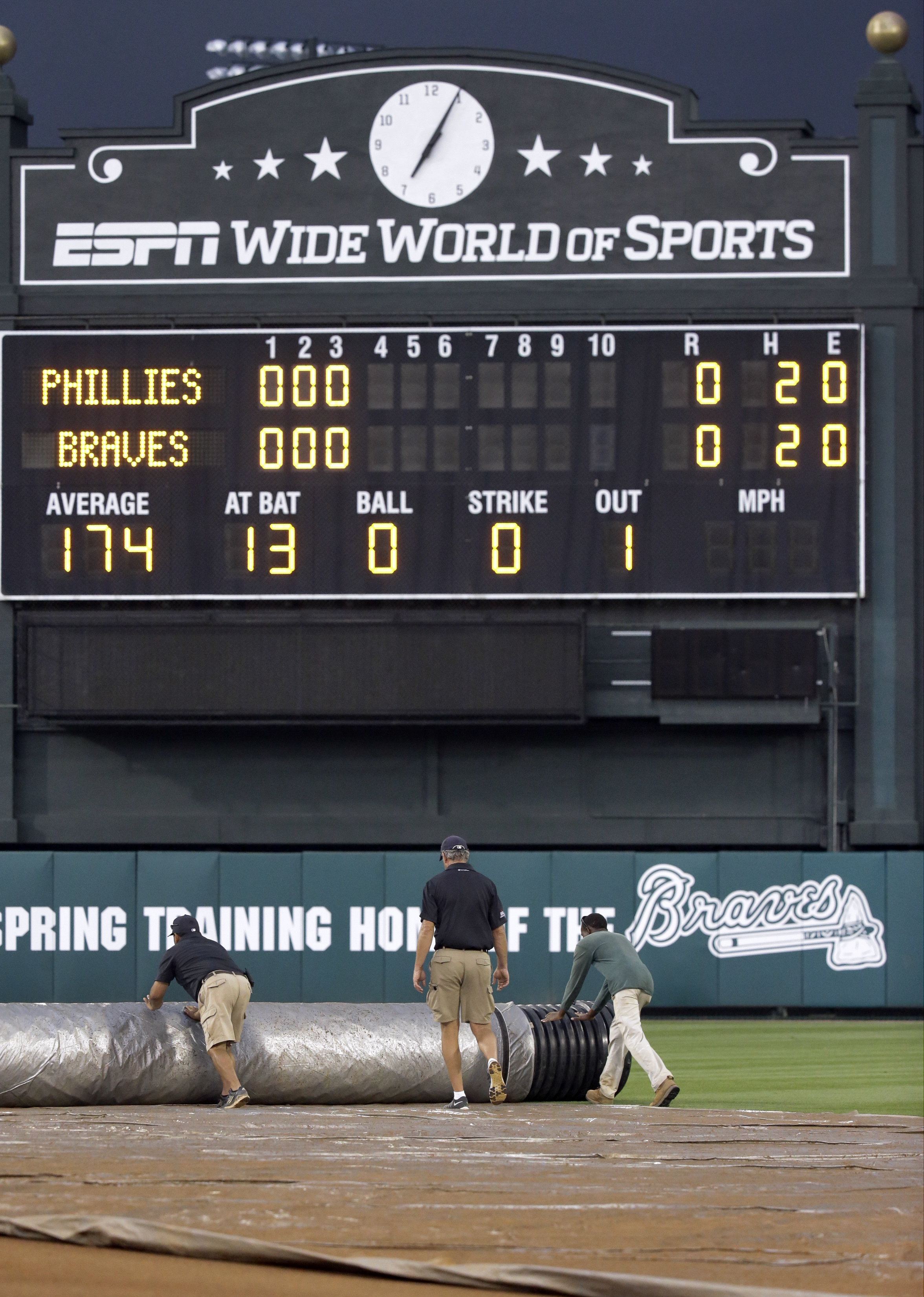 Grounds crew workers roll out a tarp on the infield as a spring training baseball game between the Atlanta Braves and the Philadelphia Phillies was stopped because of weather in the fourth inning, Thursday, March 24, 2016, in Kissimmee, Fla. (AP Photo/Joh