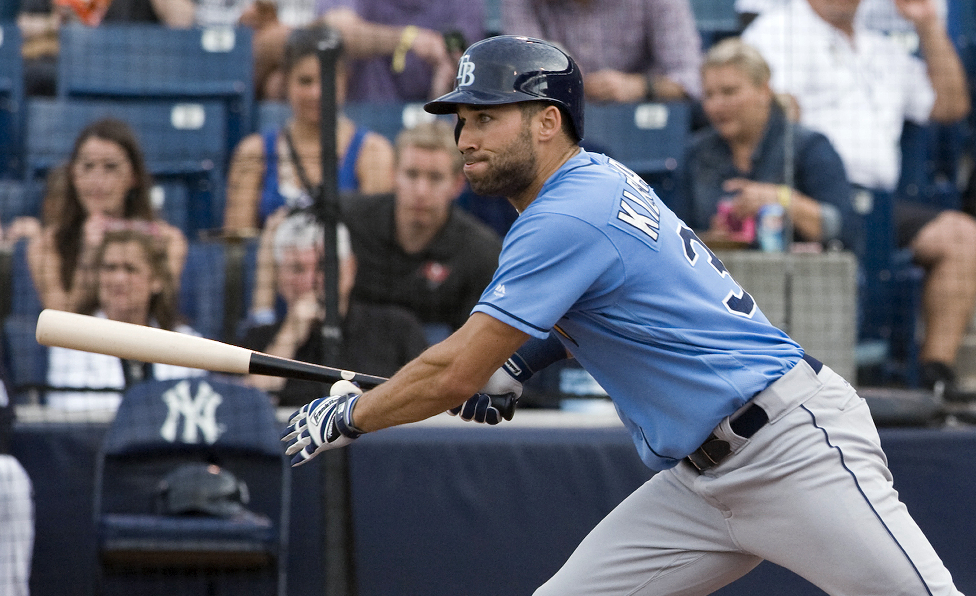Tampa Bay Rays' Kevin Kiermaier watches his RBI single off New York Yankees starter CC Sabathia during the second inning of a spring training baseball game Thursday, March 24, 2016, in Tampa, Fla. (AP Photo/Steve Nesius)