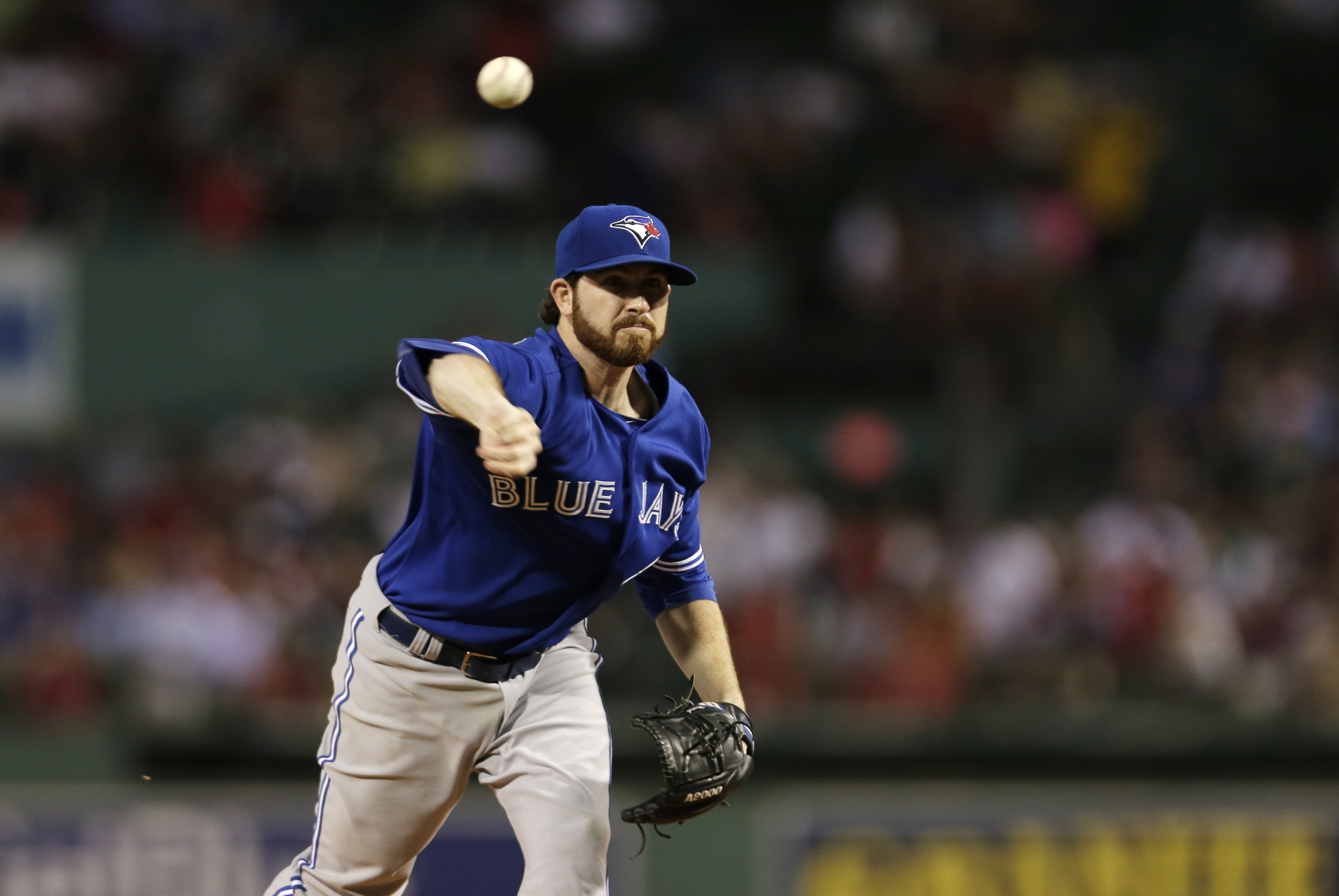 Toronto Blue Jays starting pitcher Drew Hutchison delivers during the first inning of a baseball game at Fenway Park in Boston, Wednesday, Sept. 9, 2015. (AP Photo/Charles Krupa)