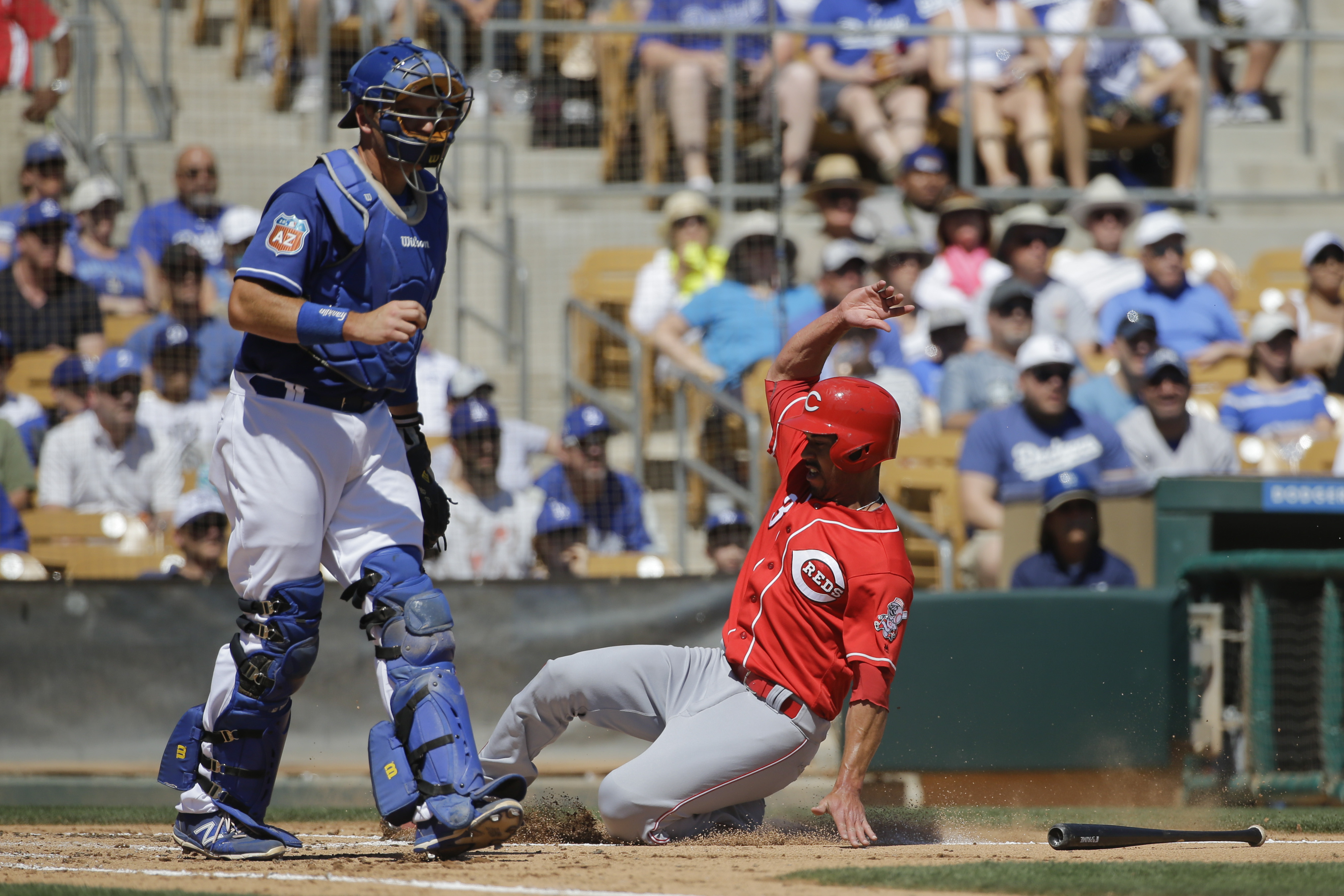 Los Angeles Dodgers catcher A.J. Ellis, left, watches as Cincinnati Reds' Ivan De Jesus Jr. slides into home plate to score on a throwing error by Los Angeles Dodgers' Chase Utley during the third inning of a spring training baseball game, Sunday, March 2