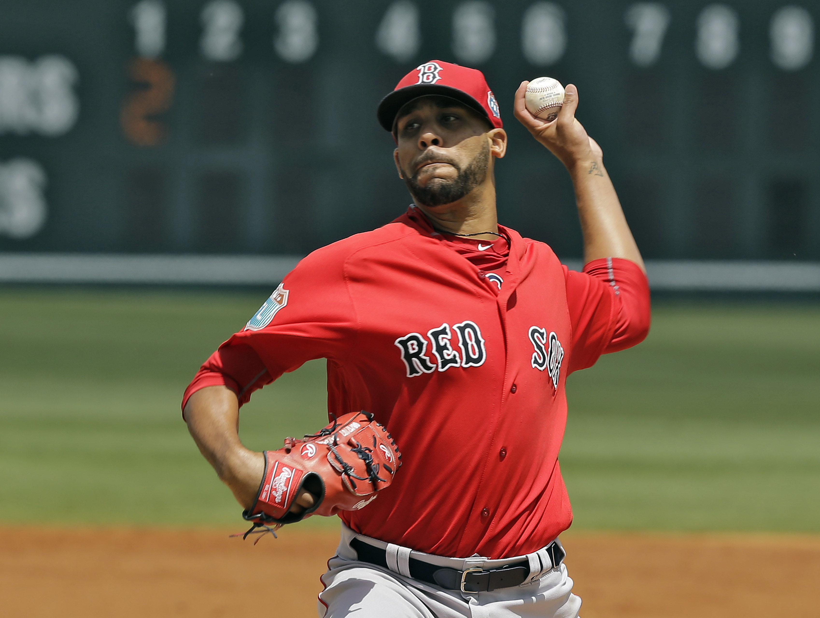 Boston Red Sox's David Price pitches to the Pittsburgh Pirates during the first inning of a spring training baseball game Wednesday, March 30, 2016, in Bradenton, Fla. (AP Photo/Chris O'Meara)