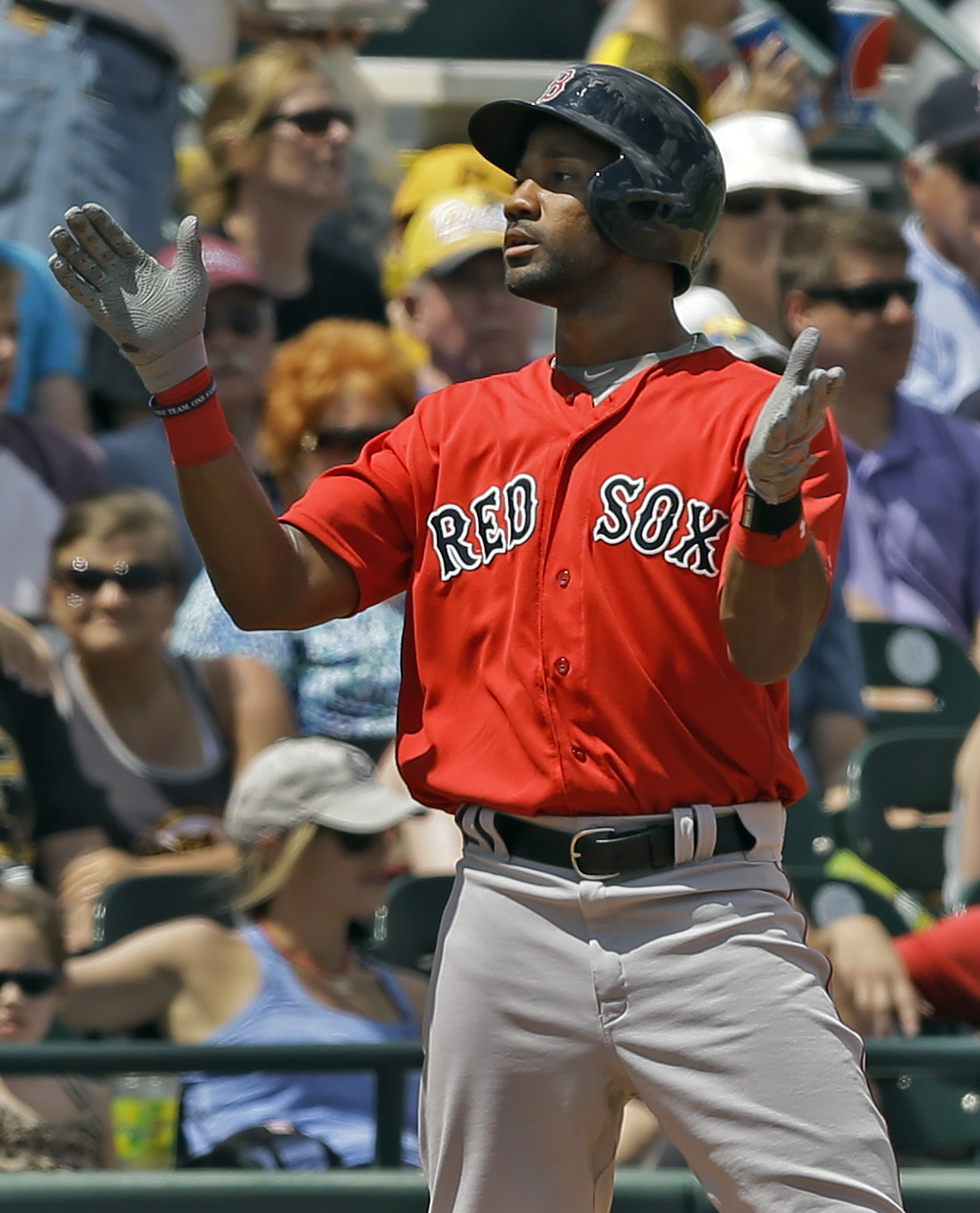 Boston Red Sox's Chris Young reacts after his triple off Pittsburgh Pirates starting pitcher Cory Luebke during the fifth inning of a spring training baseball game Wednesday, March 30, 2016, in Bradenton, Fla. (AP Photo/Chris O'Meara)