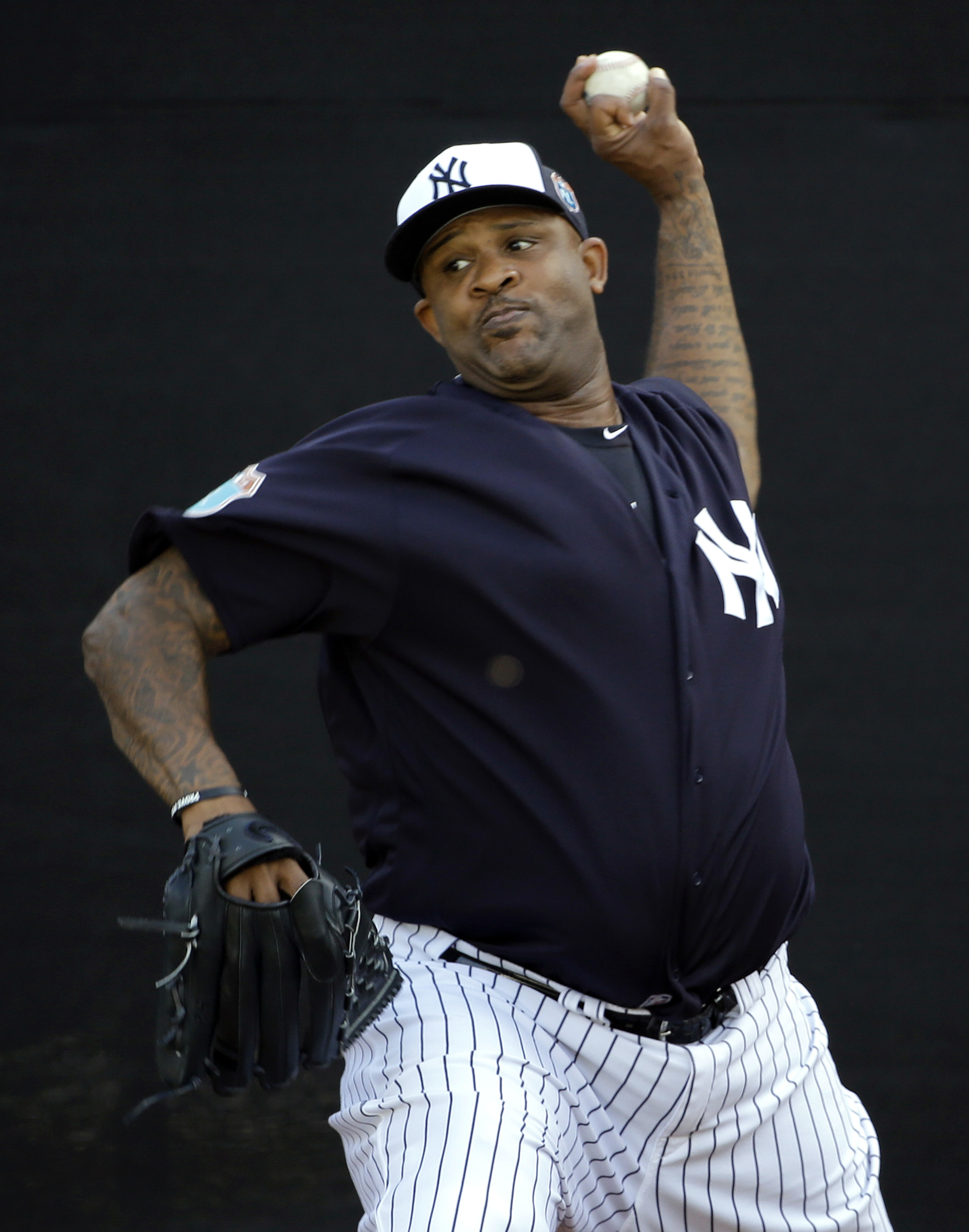 New York Yankees starting pitcher CC Sabathia throws in a bullpen session before a spring training baseball game against the St. Louis Cardinals Thursday, March 31, 2016, in Tampa, Fla. (AP Photo/Chris O'Meara)