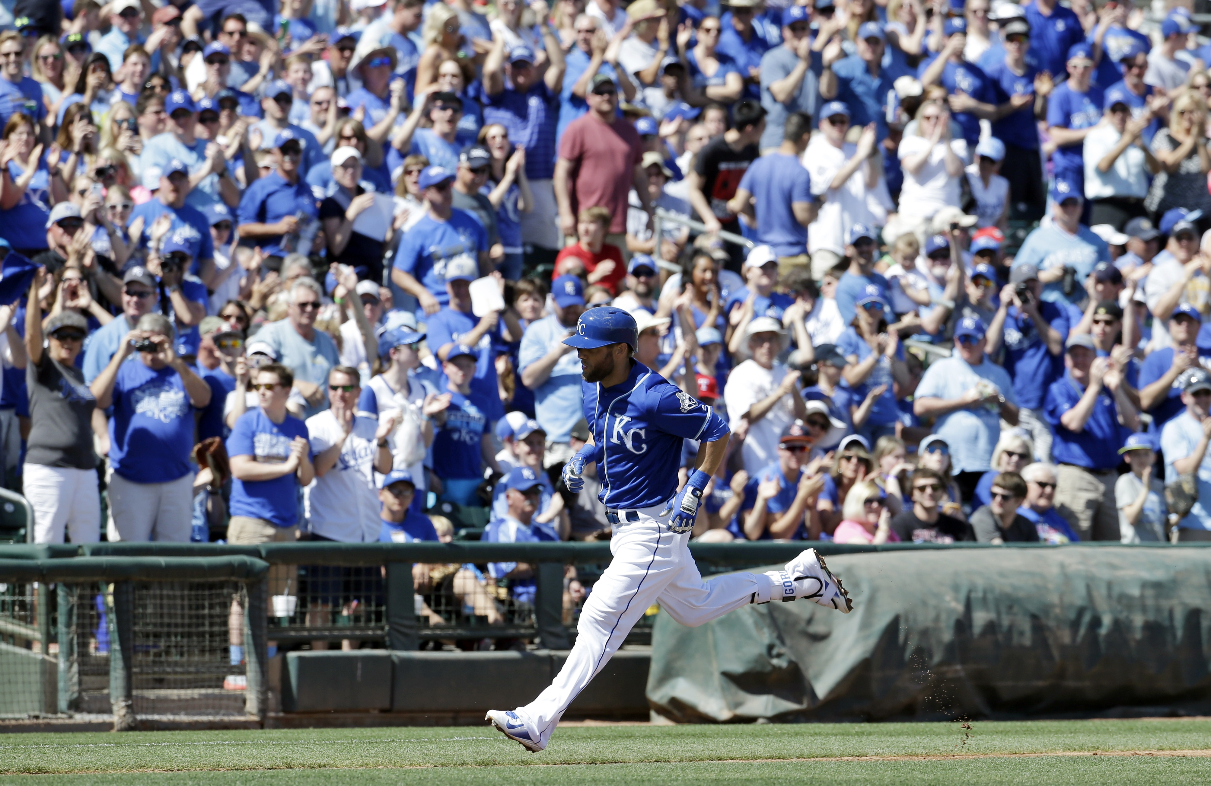 FILE - In this March 14, 2016 file photo, Kansas City Royals' Alex Gordon trots home after hitting a home run during a spring training baseball game against the Chicago White Sox in Surprise, Ariz. The Royals believe they can win a second straight World S