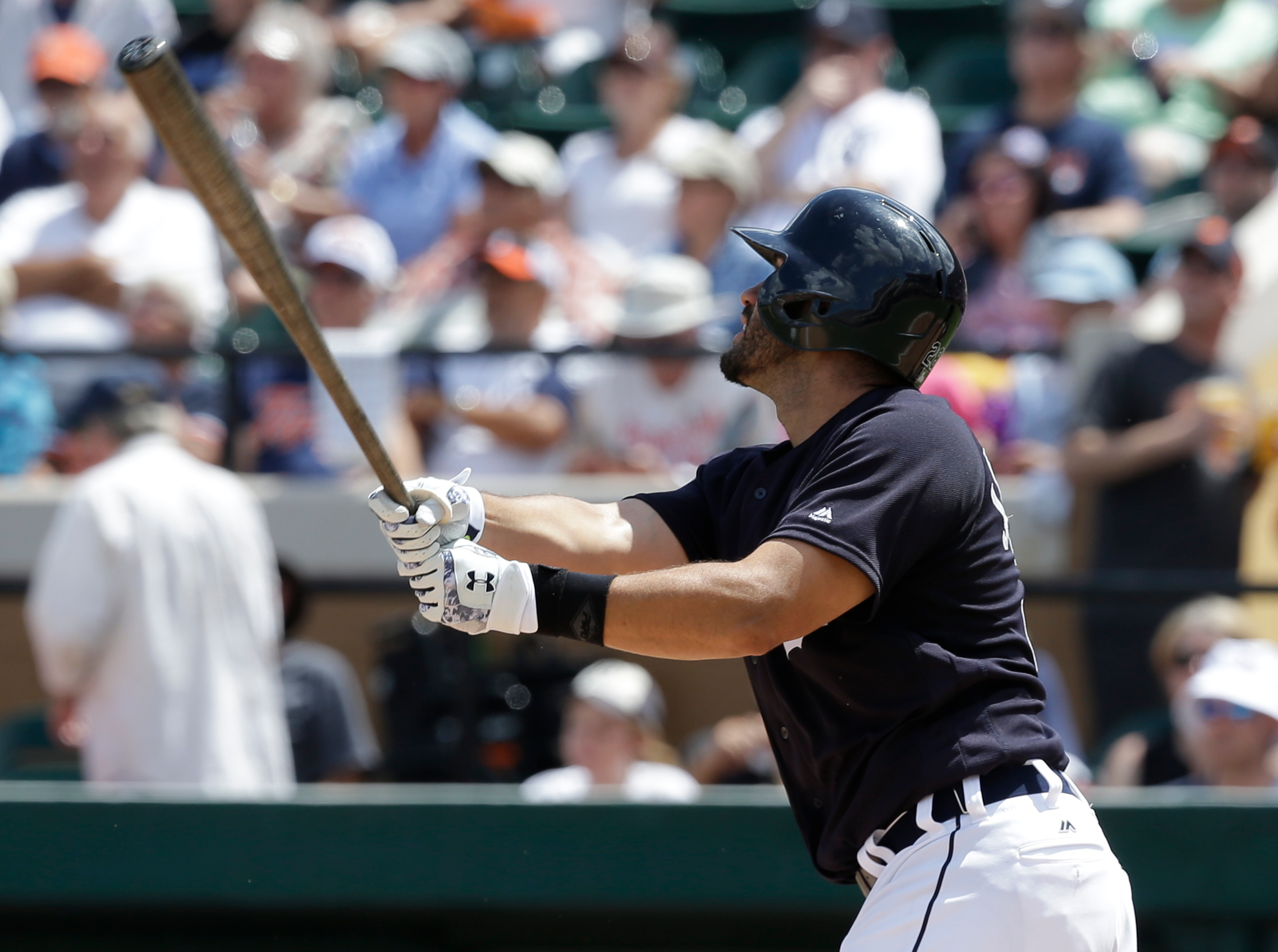 Detroit Tigers' J.D. Martinez hits a home run in the fourth inning against the New York Yankees in a spring training baseball game, Thursday, March 31, 2016, in Lakeland, Fla. (AP Photo/John Raoux)