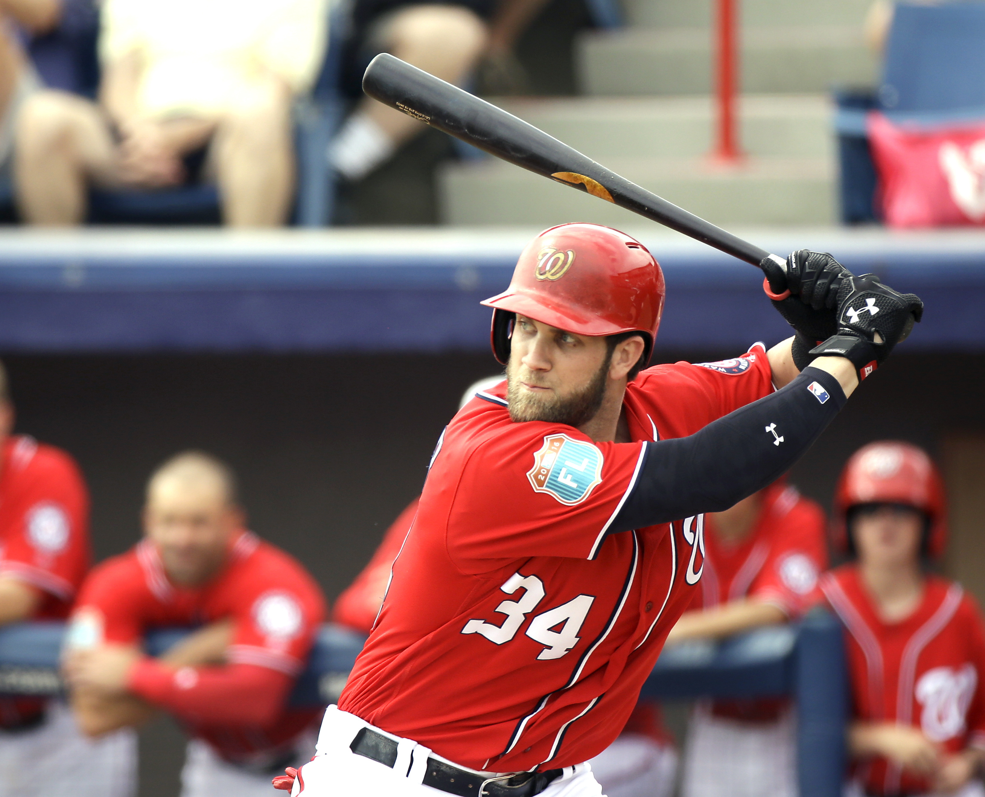 FILE - In this March 5, 2016, file photo, Washington Nationals' Bryce Harper (34) bats against the Detroit Tigers in a spring training baseball gamein Viera, Fla. The plan is for Harper, the reigning MVP, to headline a lineup that includes ex-Mets second