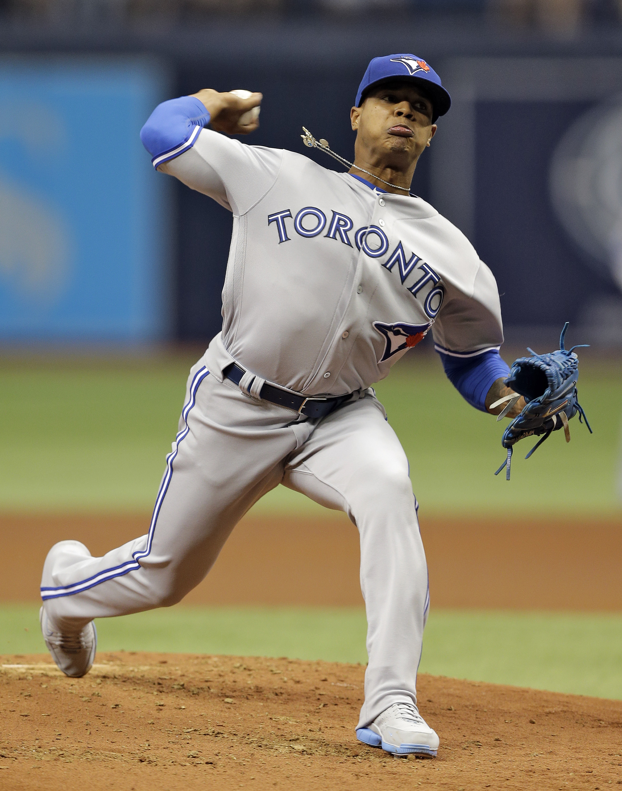 Toronto Blue Jays starting pitcher Marcus Stroman delivers to the Tampa Bay Rays during the first inning of a baseball game Sunday, April 3, 2016, in St. Petersburg, Fla. (AP Photo/Chris O'Meara)