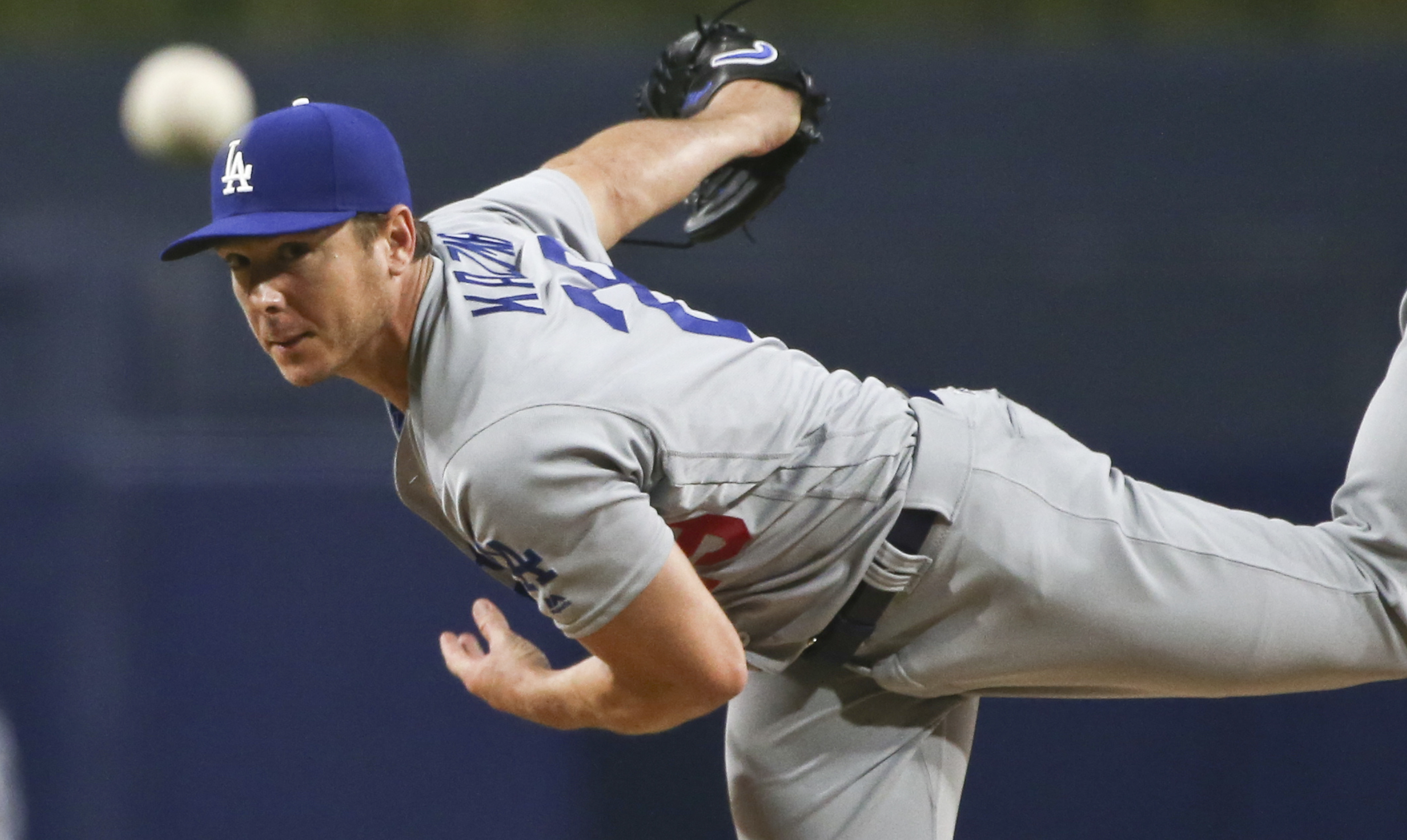 Los Angeles Dodgers starting pitcher Scott Kazmir works against the San Diego Padres during the first inning of a baseball game Tuesday, April 5, 2016, in San Diego. (AP Photo/Lenny Ignelzi)