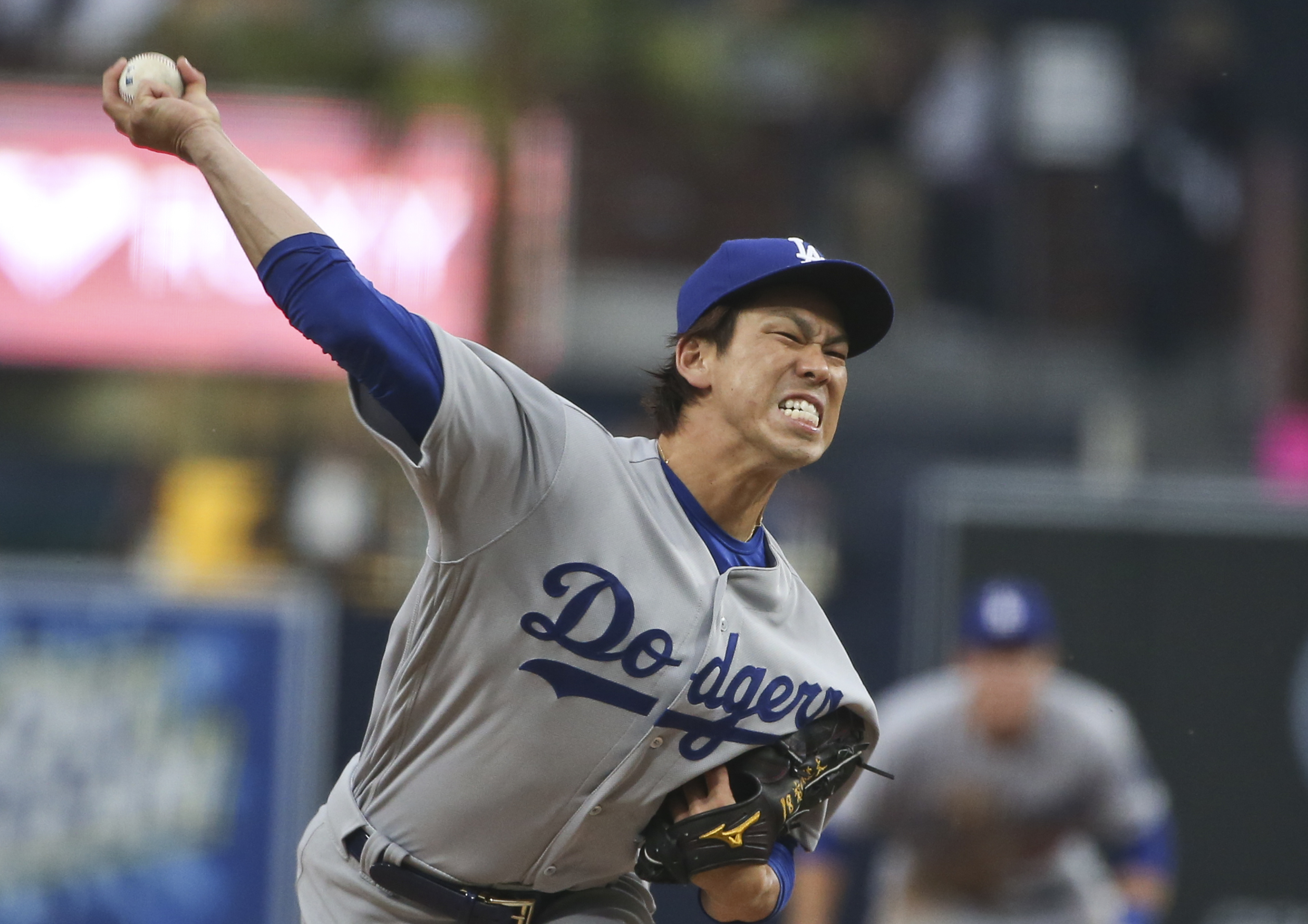 Los Angeles Dodgers starting pitcher Kenta Maeda throws against the San Diego Padres in the first inning of a baseball game Wednesday, April 6, 2016, in San Diego. (AP Photo/Lenny Ignelzi)