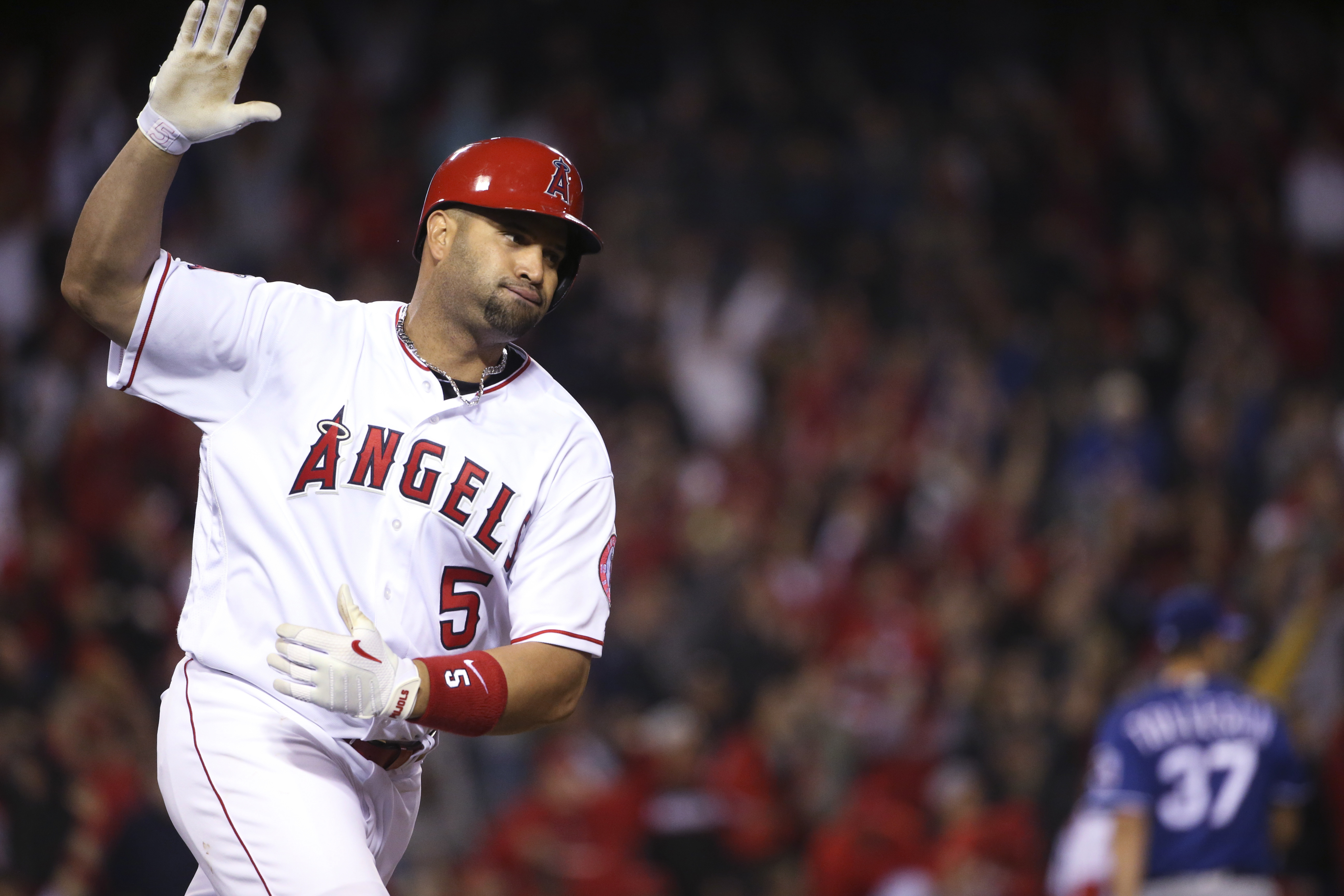 Los Angeles Angels' Albert Pujols starts to celebrate after a single to left with the bases loaded in the ninth inning to give the Angels a 4-3 victory over the Texas Rangers in a baseball game Thursday, April 7, 2016, in Anaheim, Calif. (AP Photo/Lenny I