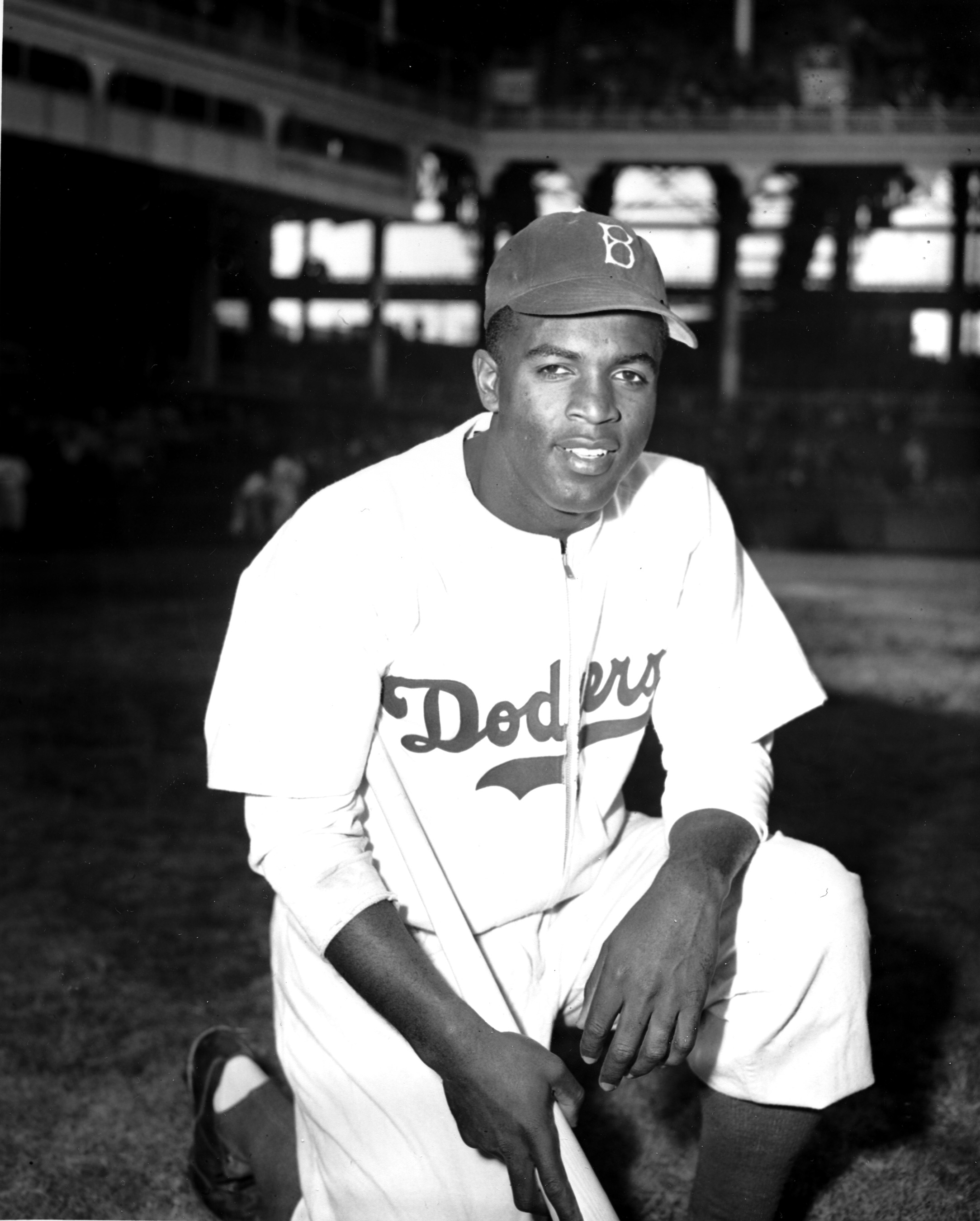 "FILE - In this April 11, 1947 file photo, Jackie Robinson of the Brooklyn Dodgers poses at Ebbets Field in the Brooklyn borough of New York. Robinson is the subject of a two-part documentary, ""Jackie Robinson"" directed by Ken Burns, Sarah Burns and David"