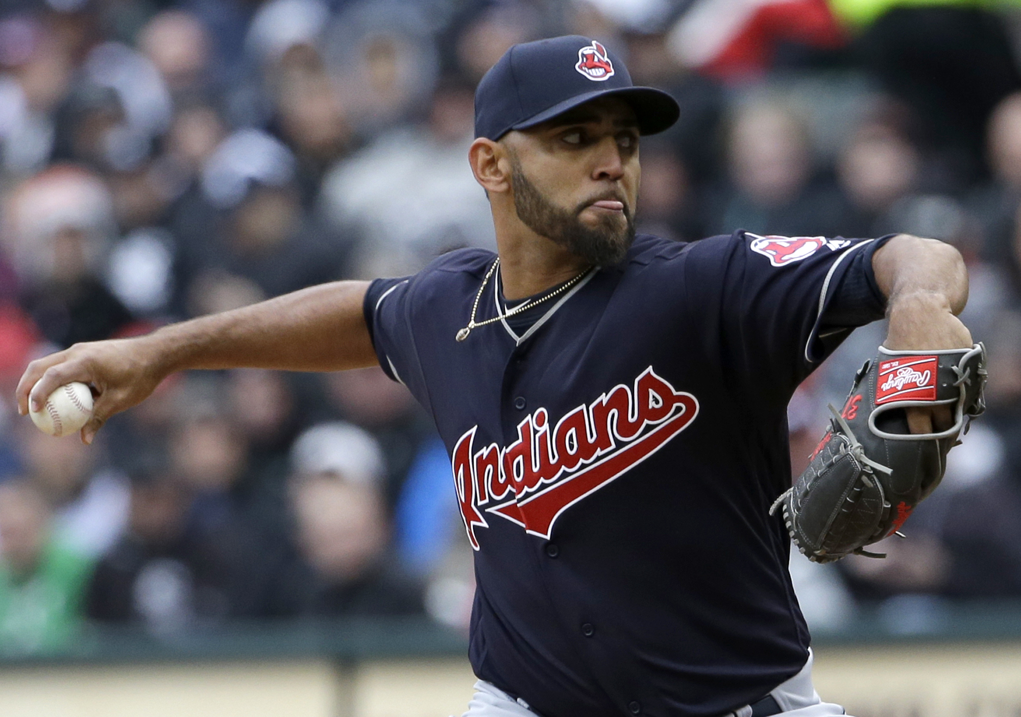 Cleveland Indians starter Danny Salazar throws against the Chicago White Sox during the first inning of a baseball game Friday, April 8, 2016, in Chicago. (AP Photo/Nam Y. Huh)