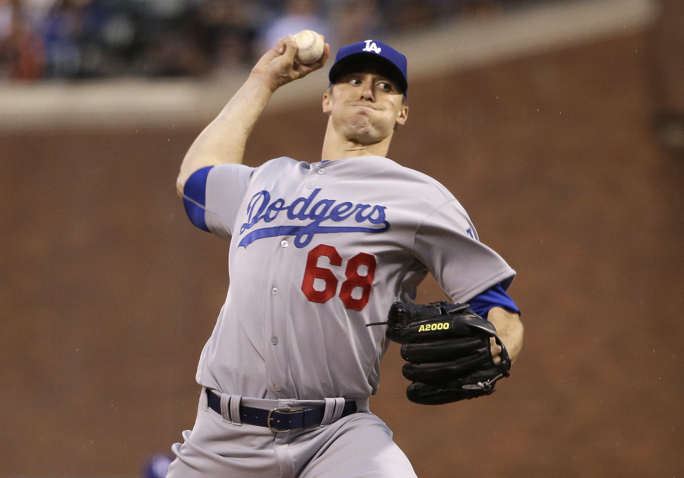 Los Angeles Dodgers starting pitcher Ross Stripling (68) throws to the San Francisco Giants during the first inning of a baseball game Friday, April 8, 2016, in San Francisco.(AP Photo/Marcio Jose Sanchez)