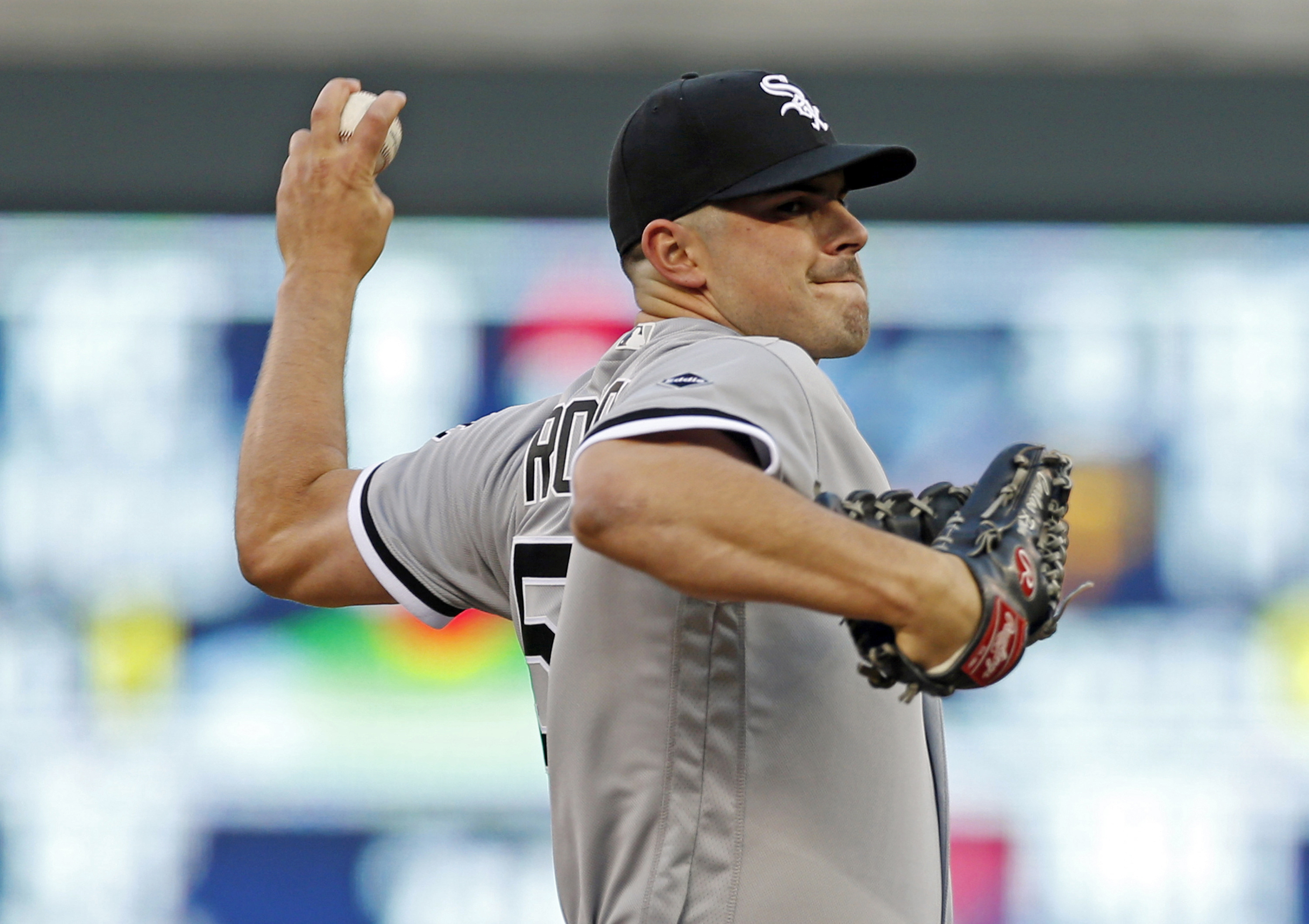 Chicago White Sox pitcher Carlos Rodon throws against the Minnesota Twins in the first inning of a baseball game Wednesday, April 13, 2016, in Minneapolis. (AP Photo/Jim Mone)