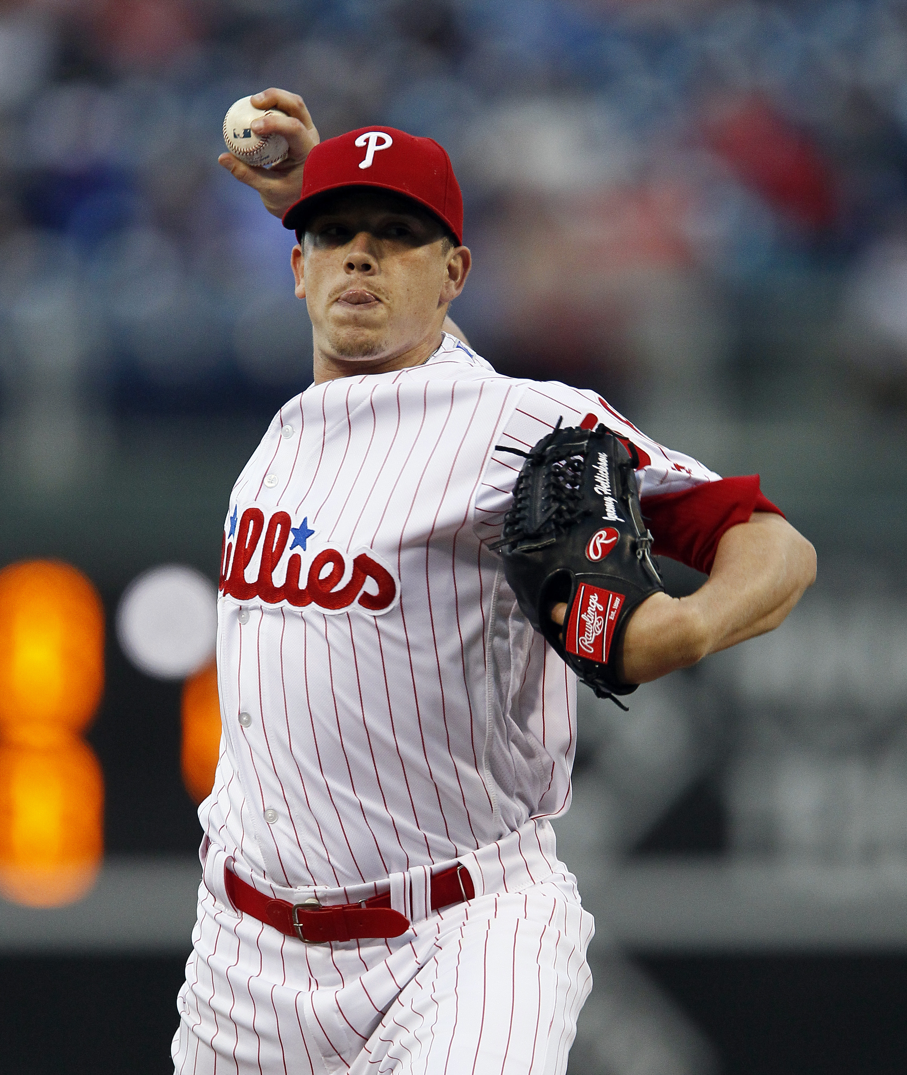 CORRECTS TO JEREMY HELLICKSON, INSTEAD OF PETER BOURJOS - Philadelphia Phillies' Jeremy Hellickson throws during the first inning of a baseball game against the New York Mets  Wednesday, April 20, 2016 in Philadelphia. (AP Photo/Tom Mihalek)