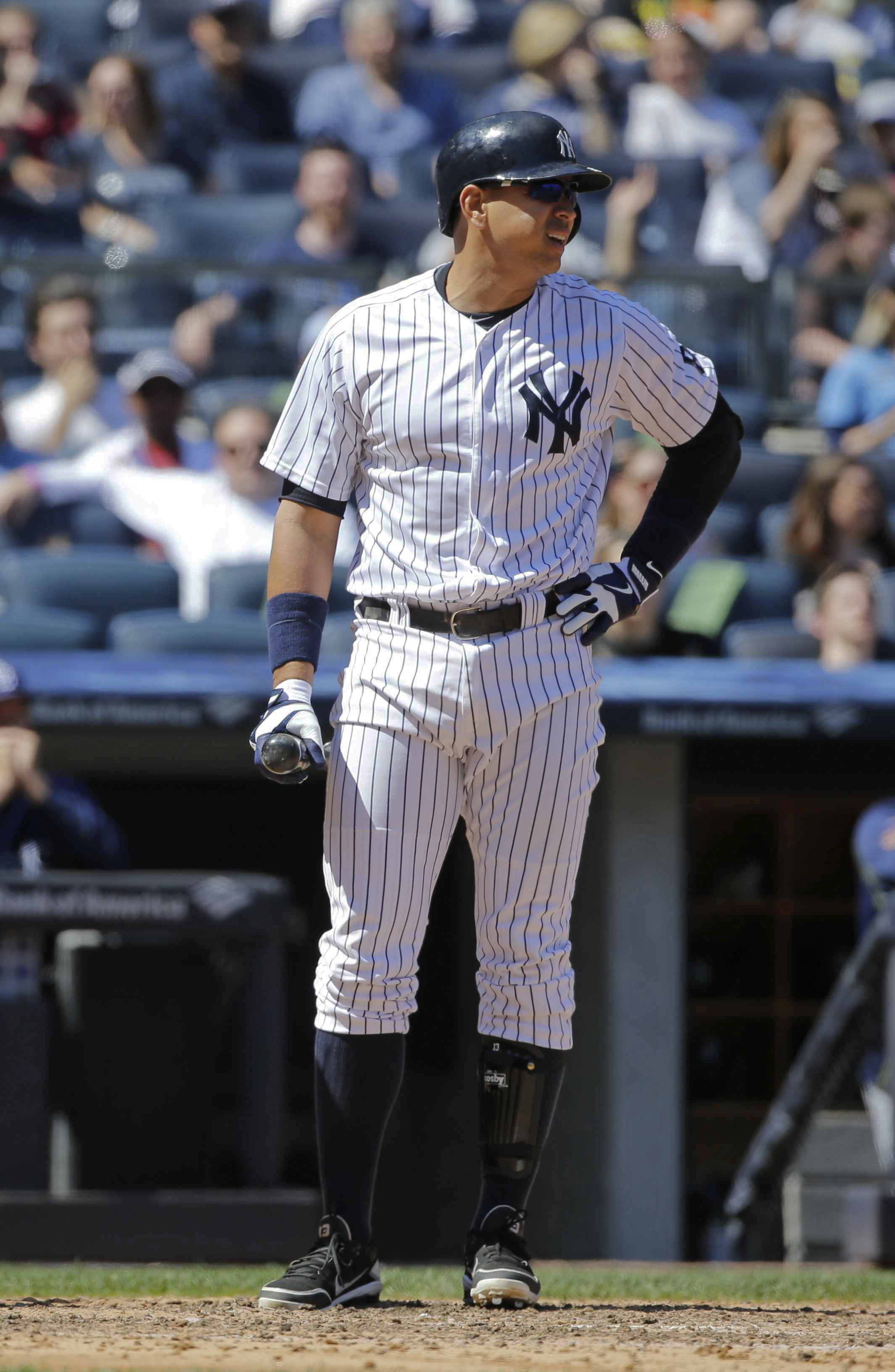New York Yankees' Alex Rodriguez reacts after striking out during the fourth inning of a baseball game against the Tampa Bay Rays Saturday, April 23, 2016, in New York. (AP Photo/Frank Franklin II)