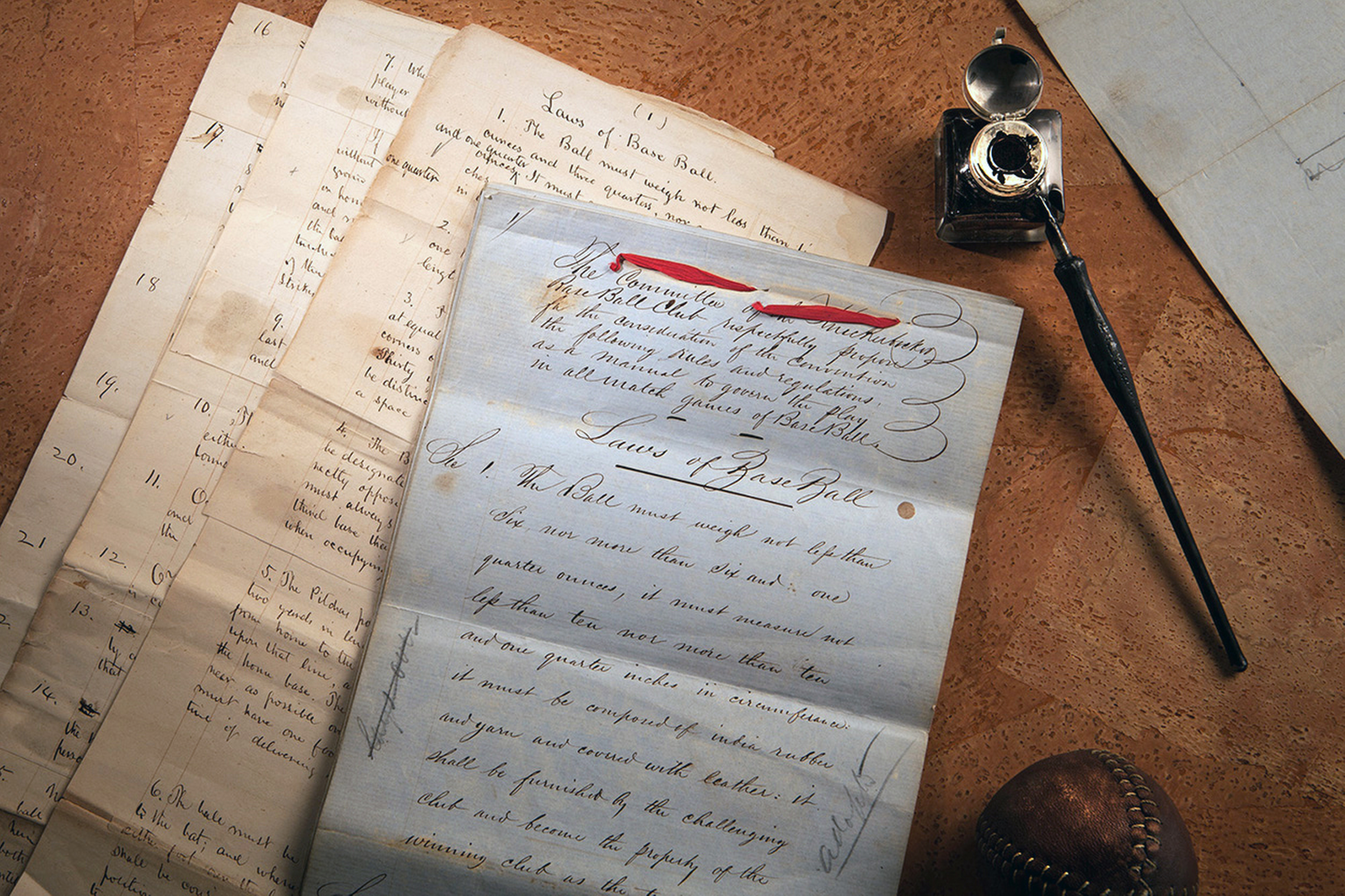 FILE - This Feb. 11, 2016 photo provided by SCP Auctions shows the 1857 documents titled Laws of Base Ball. Baseball may have found its birth certificate. And with it a new birth date, and new founding father. Coinciding with the start of the professional