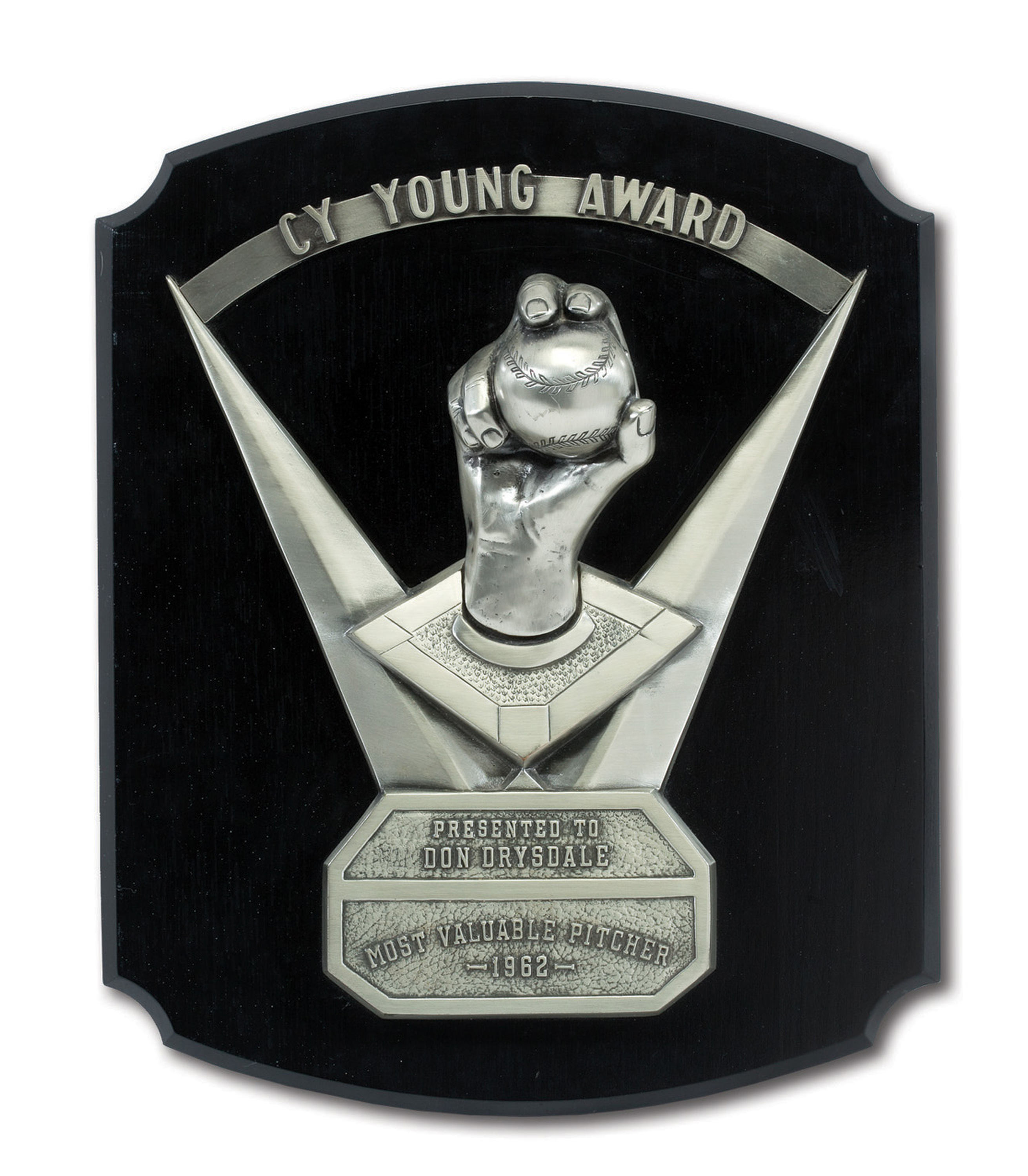 FILE - In this undated file photo provided by SCP Auctions, former major league pitcher Don Drysdale's 1962 Cy Young award is displayed. The award sold at auction for $100,100. (Leslie Larsen Bird/SCP Auctions via AP, File)