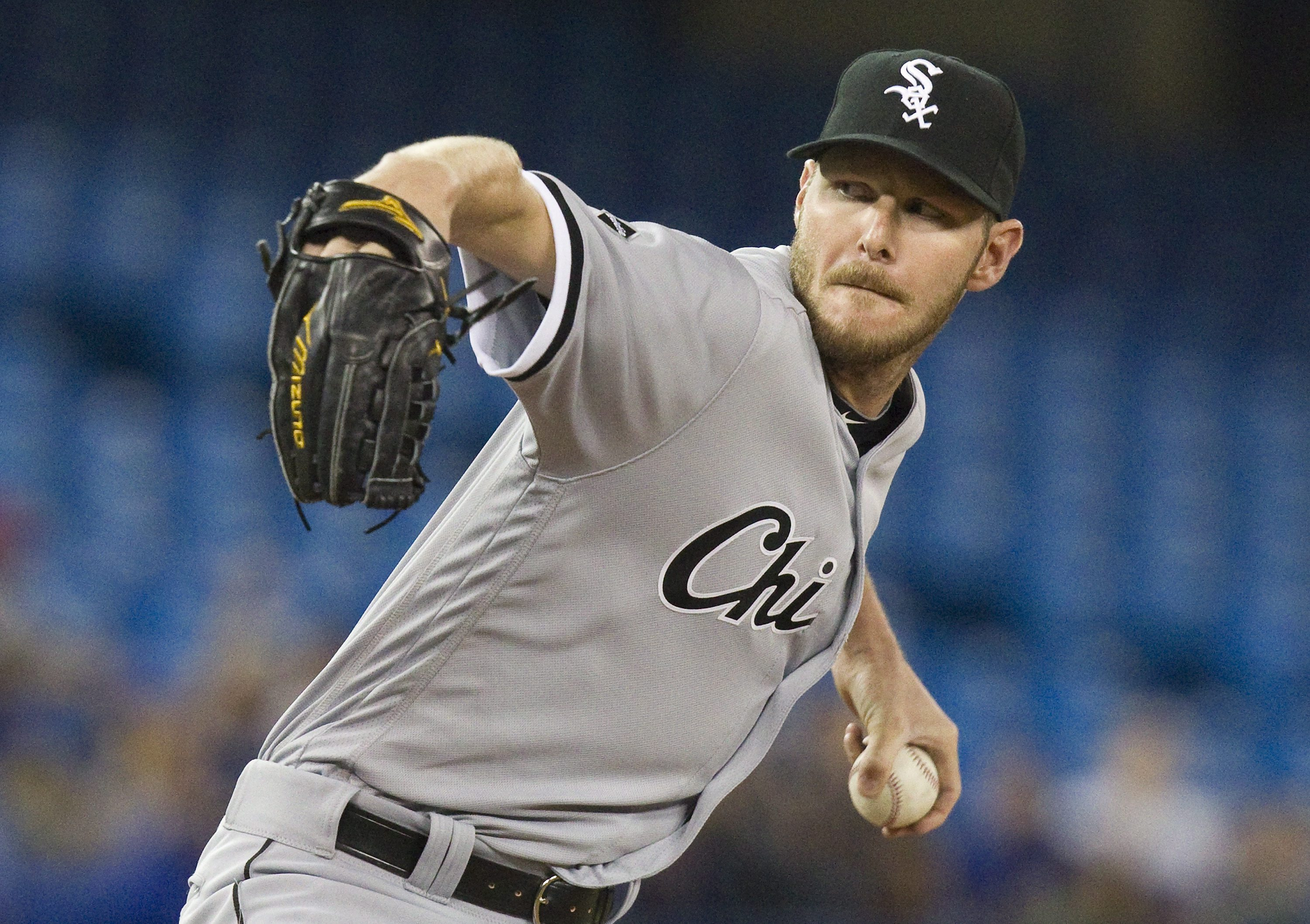 Chicago White Sox starting pitcher Chris Sale throws against the Toronto Blue Jays during the first inning of a baseball game Tuesday, April 26, 2016, in Toronto. (Fred Thornhill/The Canadian Press via AP)