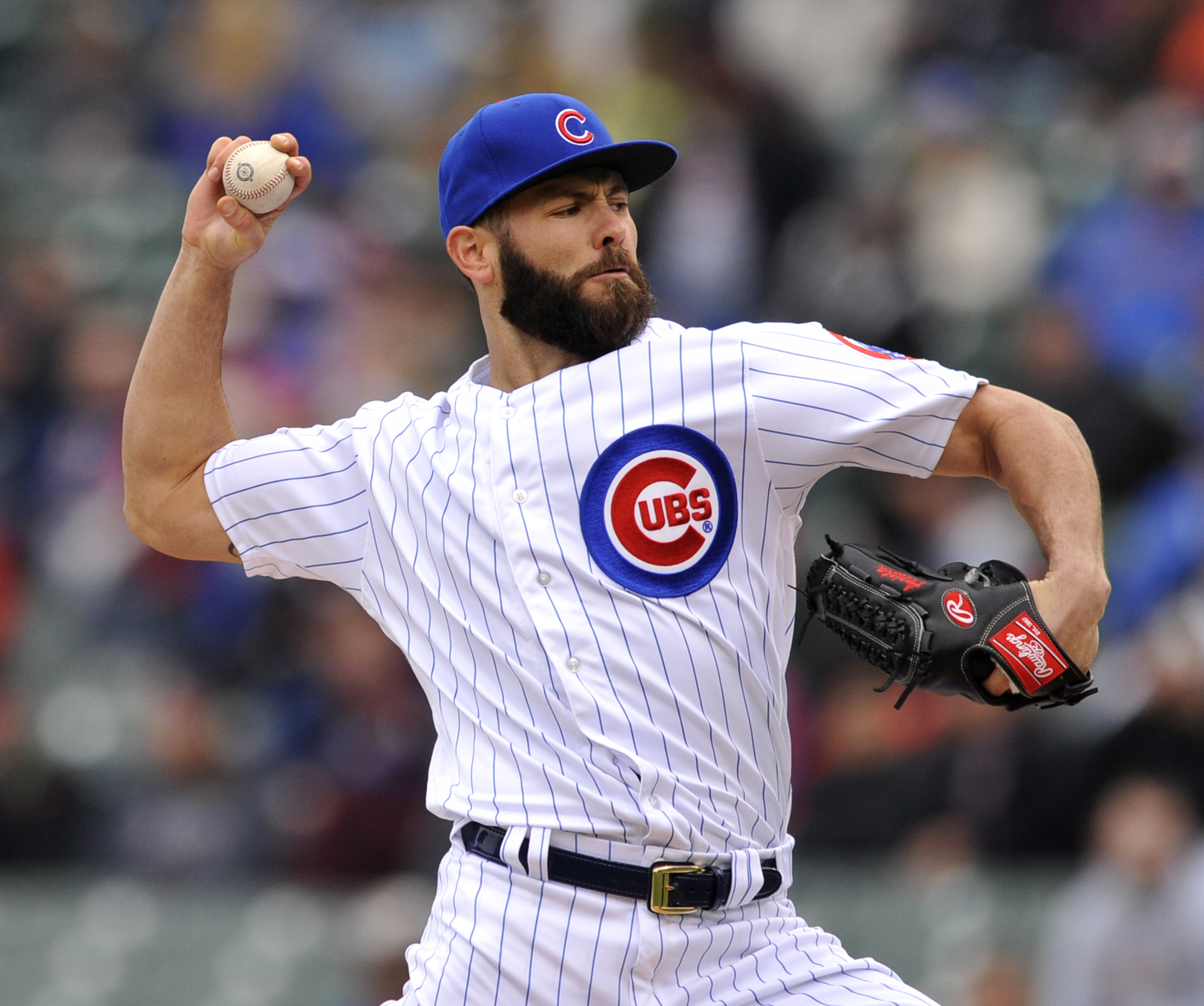 Chicago Cubs starter Jake Arrieta delivers a pitch during the first inning of a baseball game against the Milwaukee Brewers Thursday, April 28, 2016, in Chicago. (AP Photo/Paul Beaty)