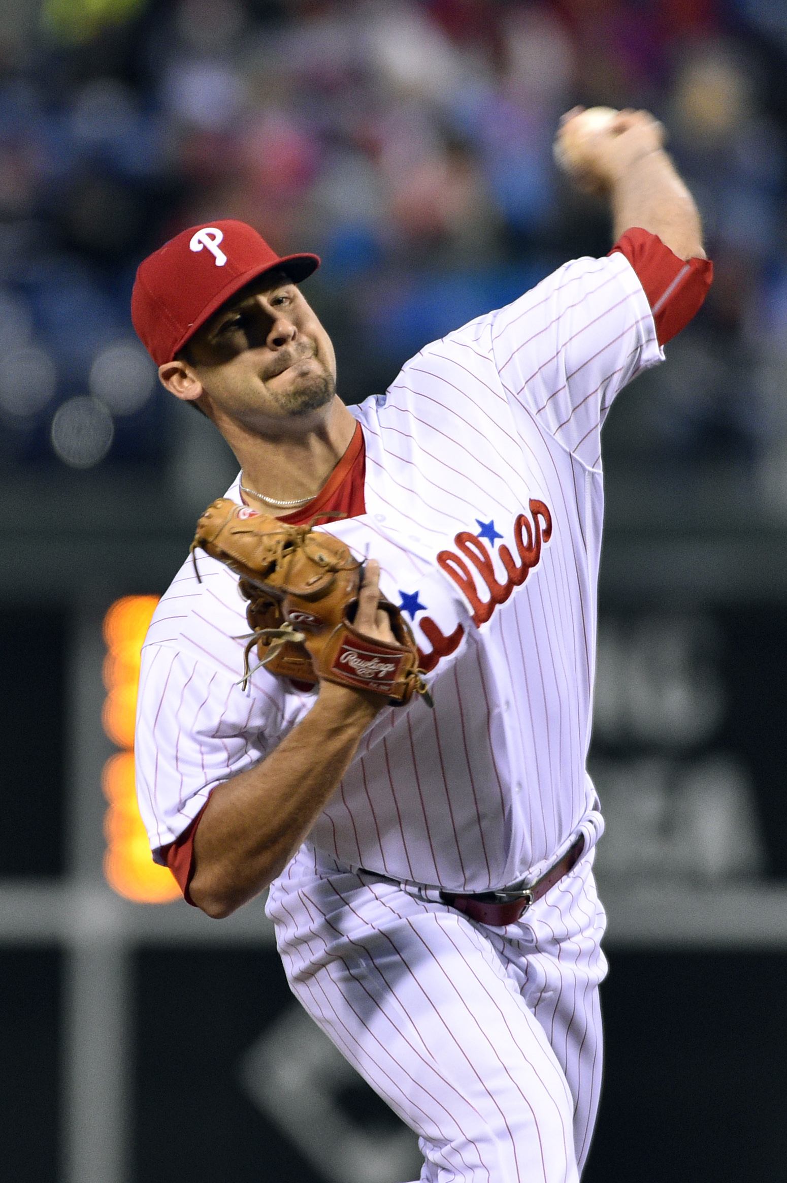 Philadelphia Phillies starting pitcher Adam Morgan throws during the third inning of a baseball game against the Cleveland Indians, Friday, April 29, 2016, in Philadelphia. (AP Photo/Derik Hamilton)