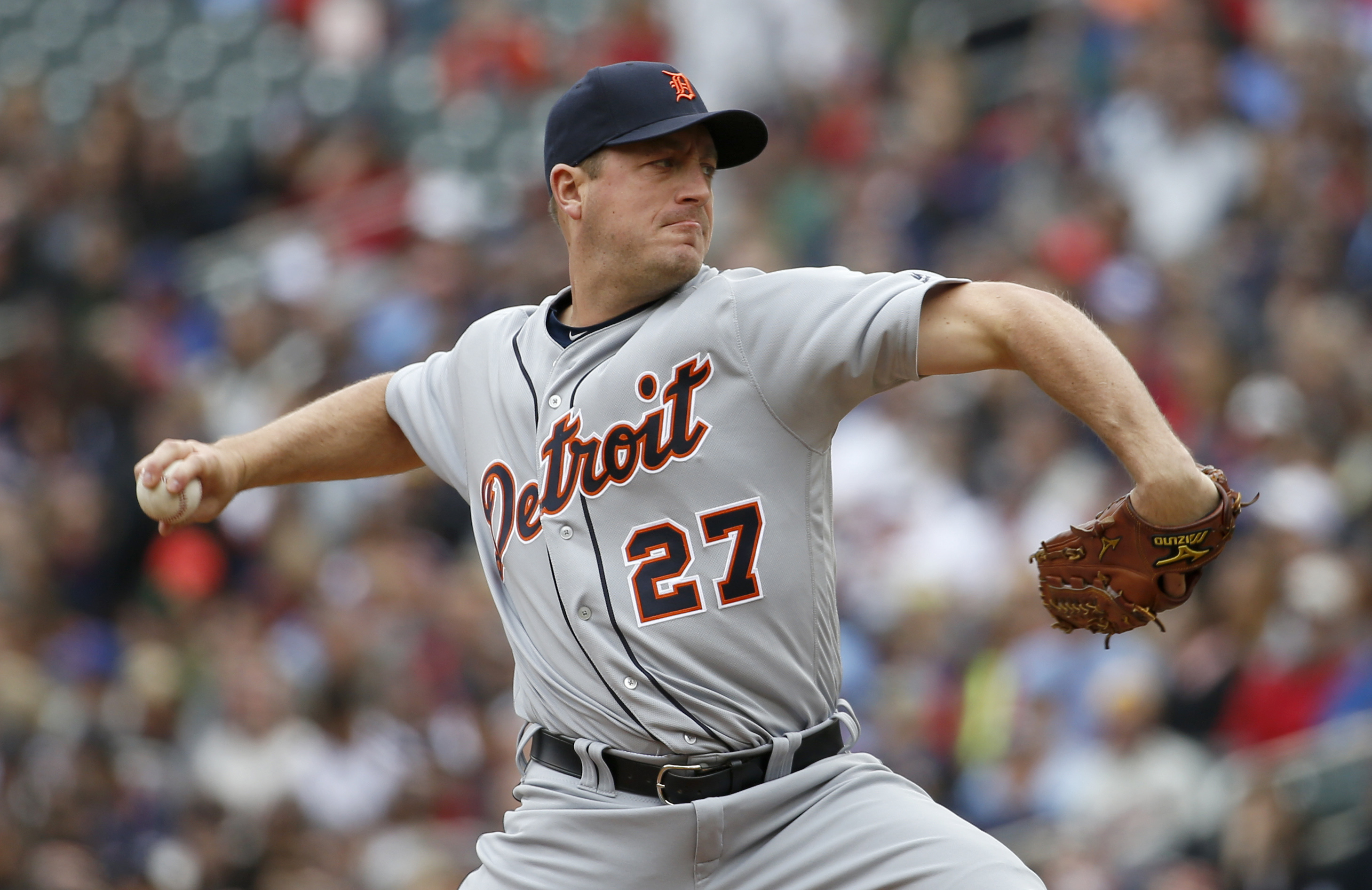 Detroit Tigers starting pitcher Jordan Zimmermann (27) delivers to the Minnesota Twins during the first inning of a baseball game in Minneapolis, Saturday, April 30, 2016. (AP Photo/Ann Heisenfelt)